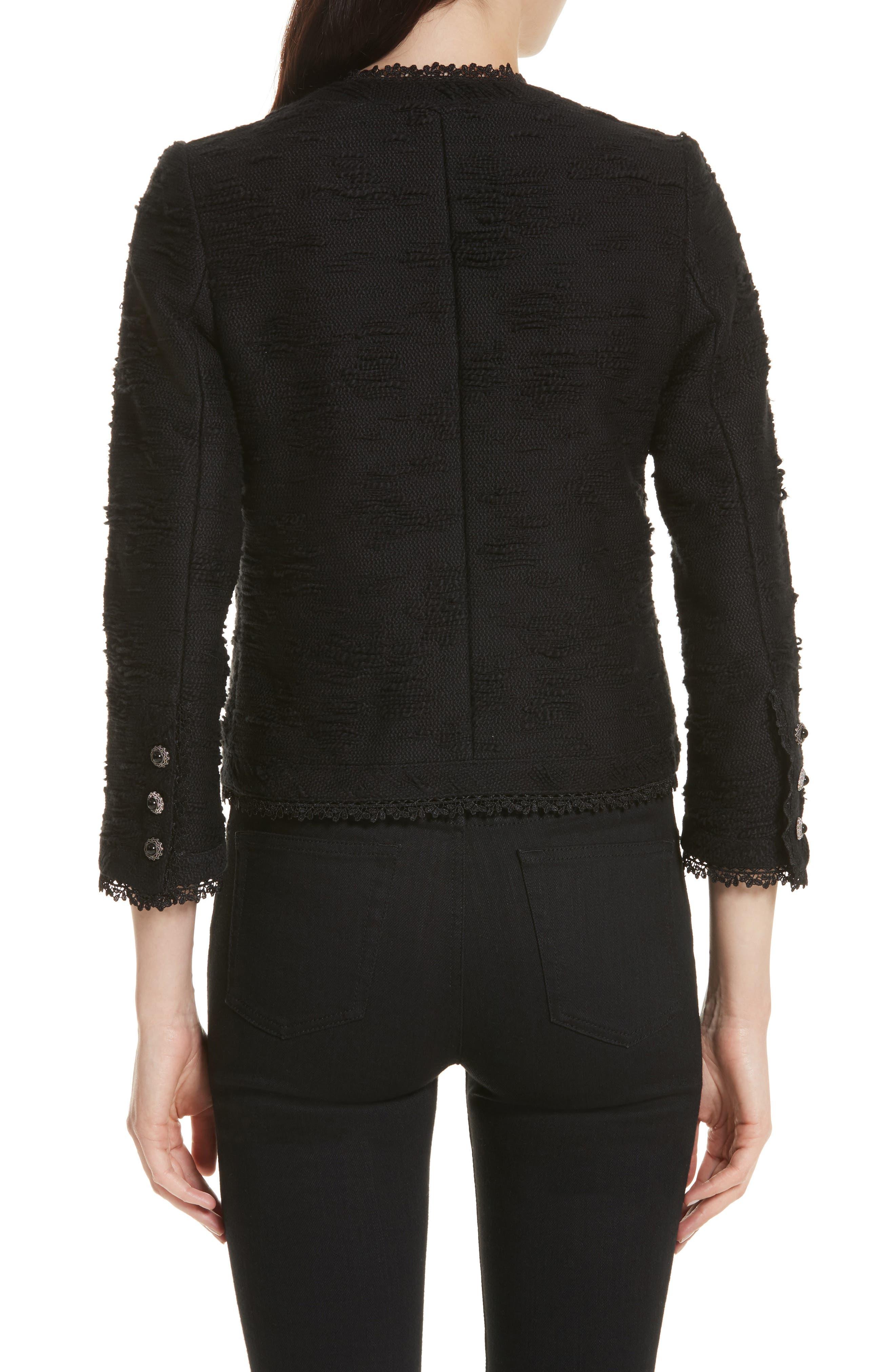 Lace Trim Boxy Jacket,                             Alternate thumbnail 2, color,                             Black