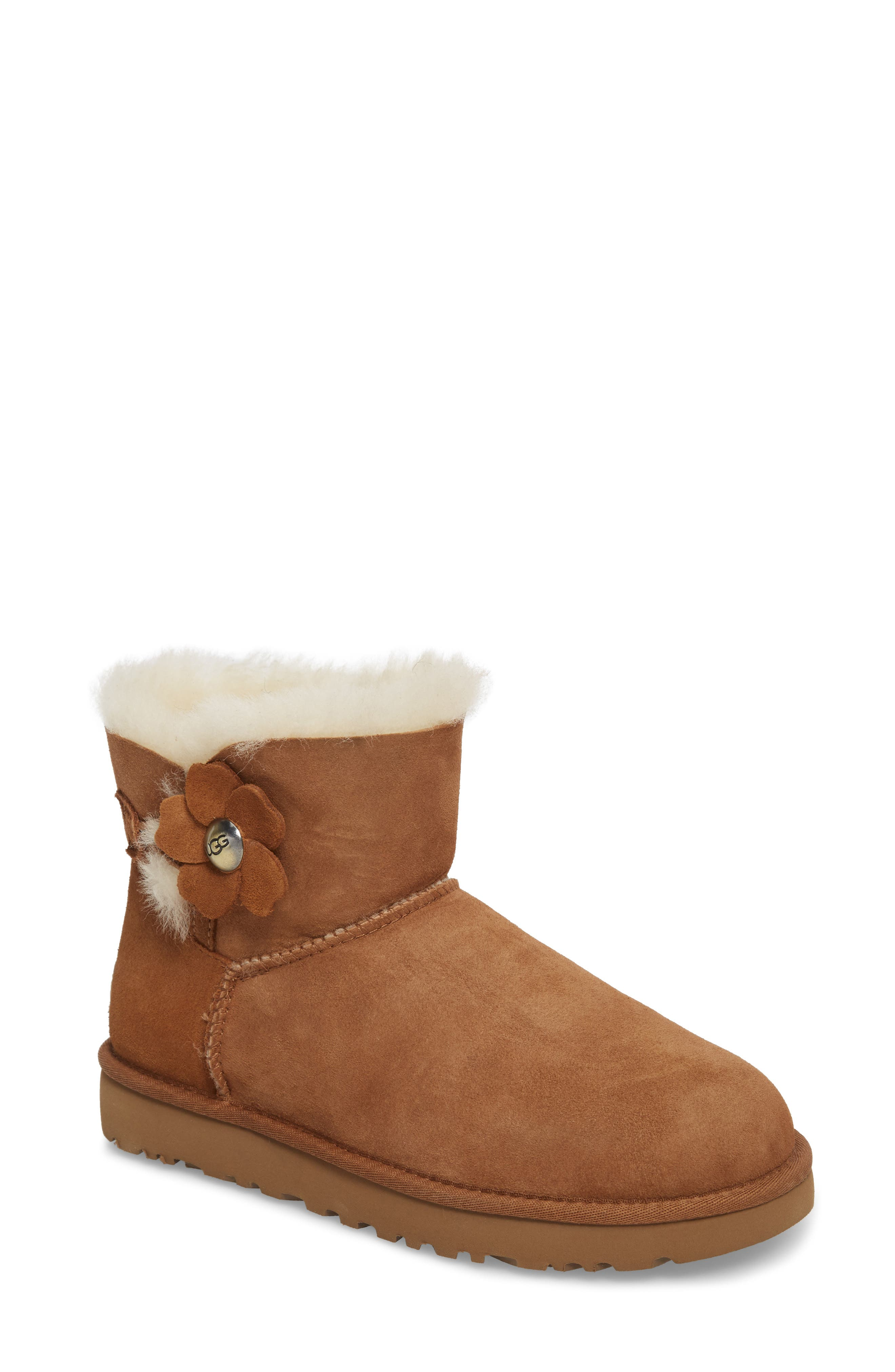 Alternate Image 1 Selected - UGG® Mini Bailey Button Poppy Genuine Shearling Lined Boot (Women)