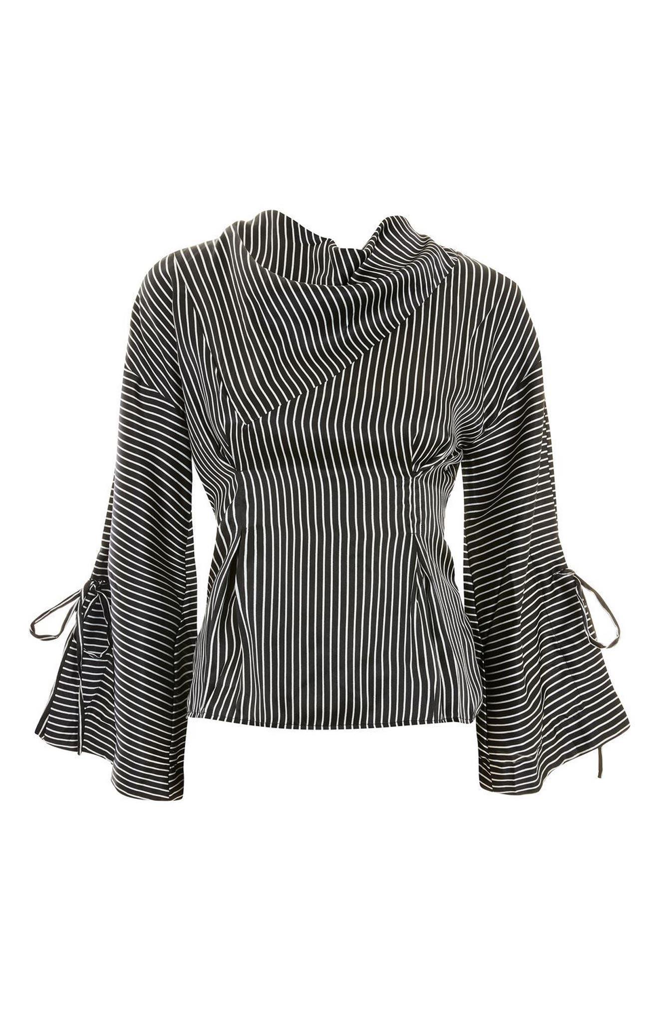 Drape Neck Twisted Stripe Blouse,                             Alternate thumbnail 4, color,                             Black Multi