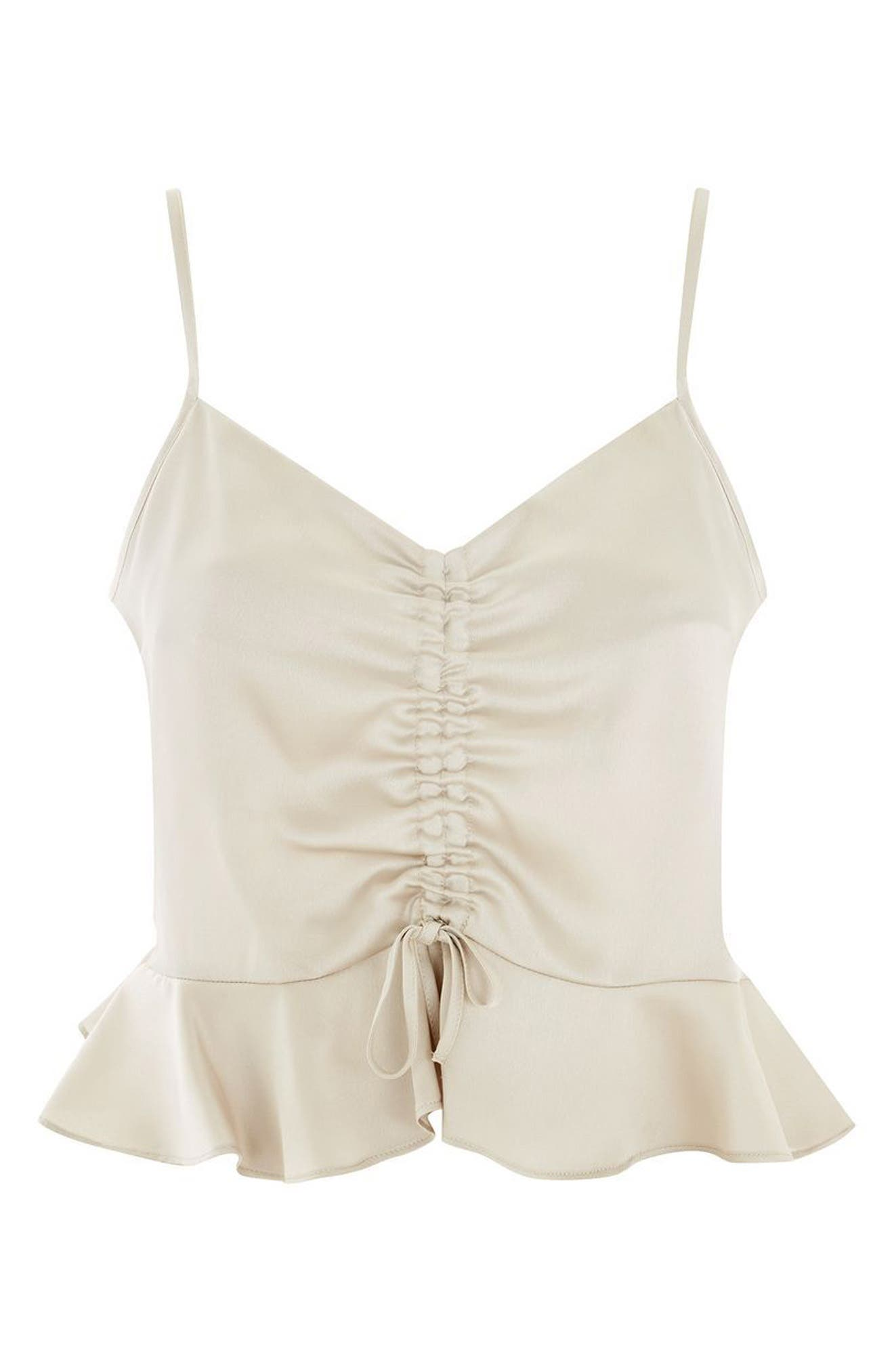 Ruby Ruched Satin Camisole Top,                             Alternate thumbnail 3, color,                             Cream