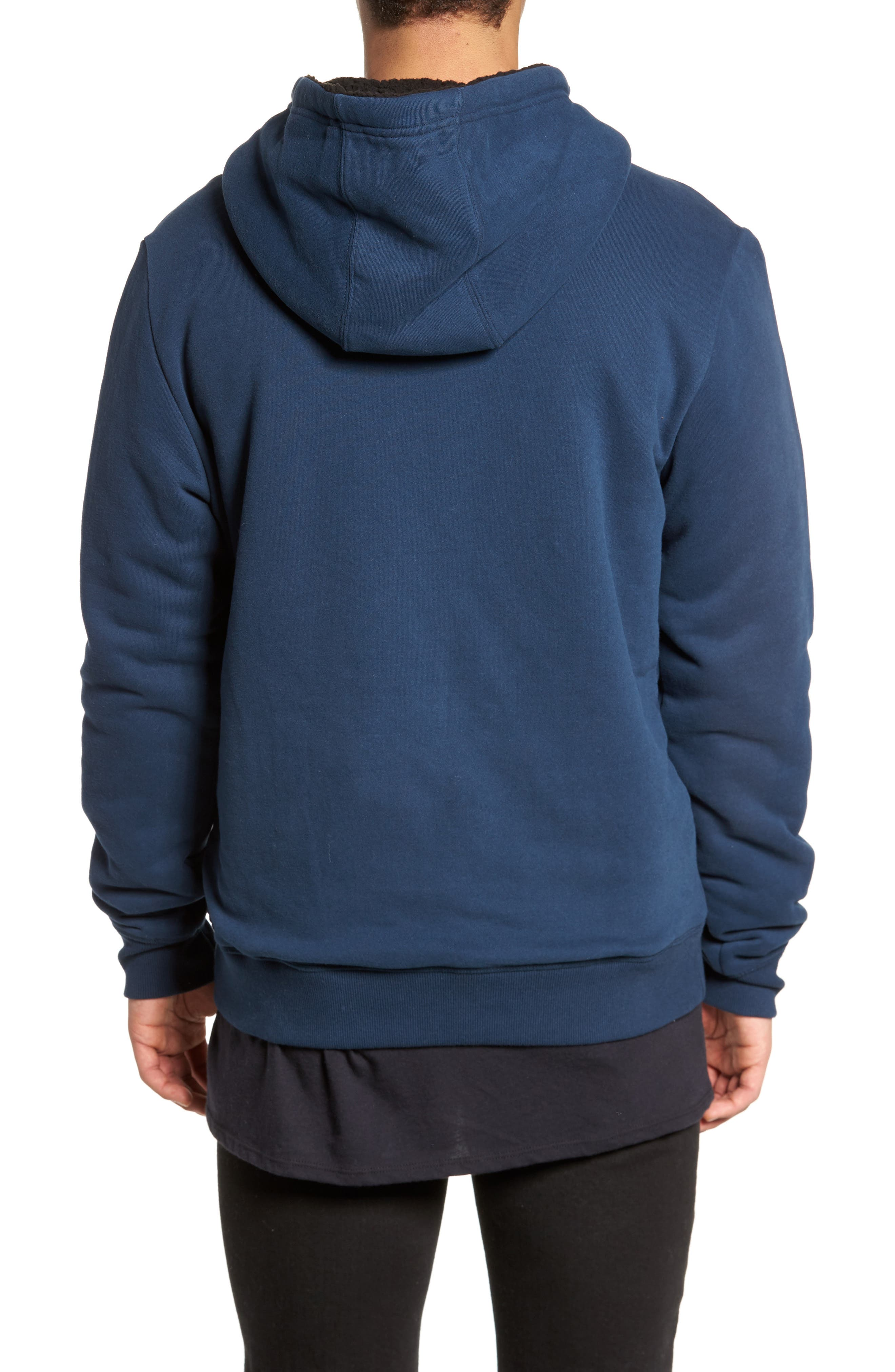 Staple Faux Shearling Trim Hoodie,                             Alternate thumbnail 2, color,                             Navy
