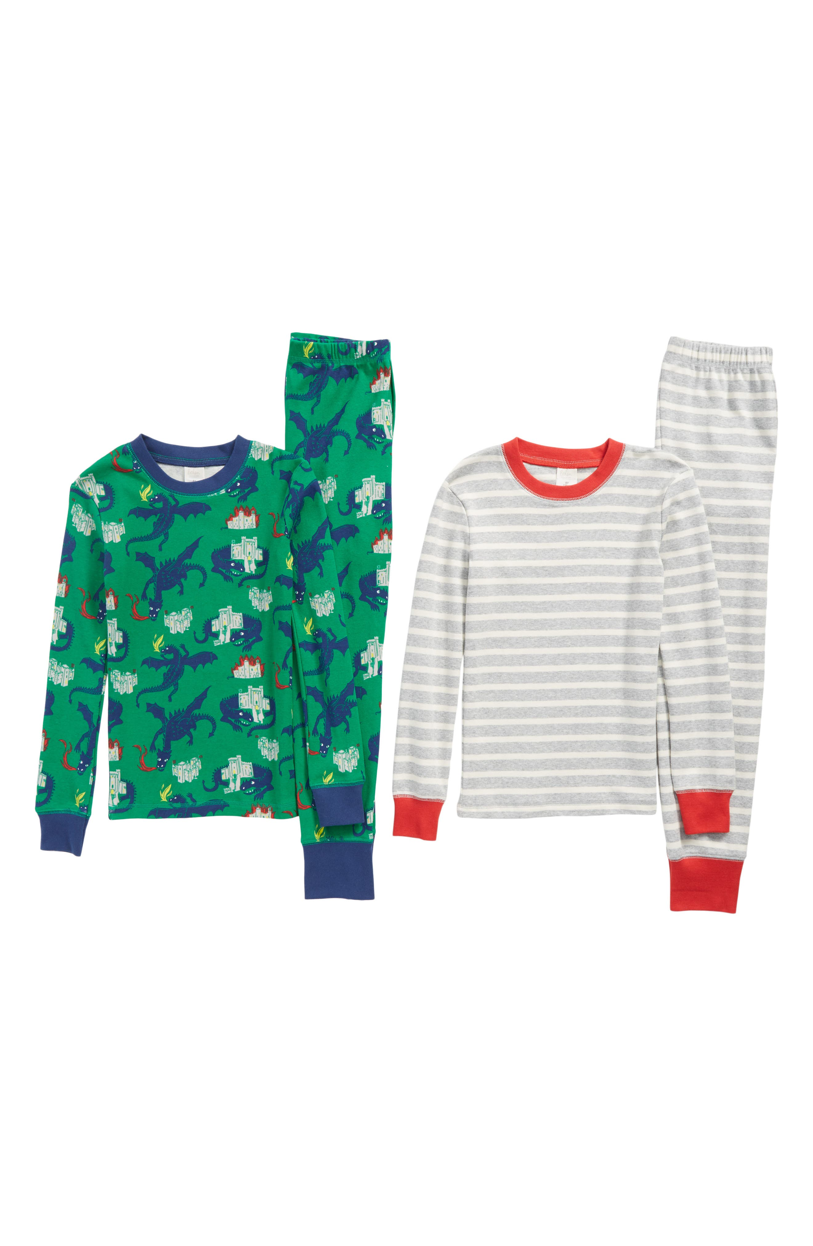 Main Image - Mini Boden Cozy 2-Pack Two-Piece Fitted Pajamas (Toddler Boys, Little Boys & Big Boys)