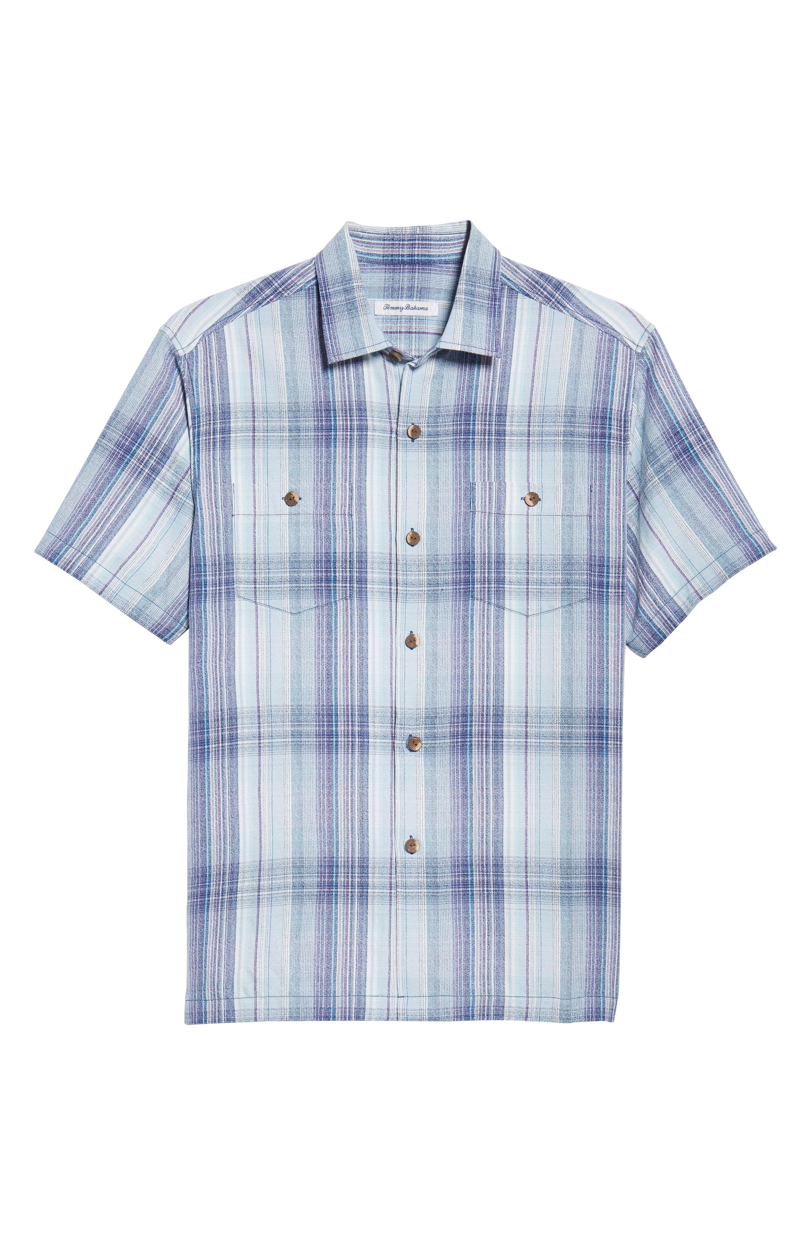 Banyan Cay Plaid Silk Blend Camp Shirt,                             Alternate thumbnail 6, color,                             Dockside Blue