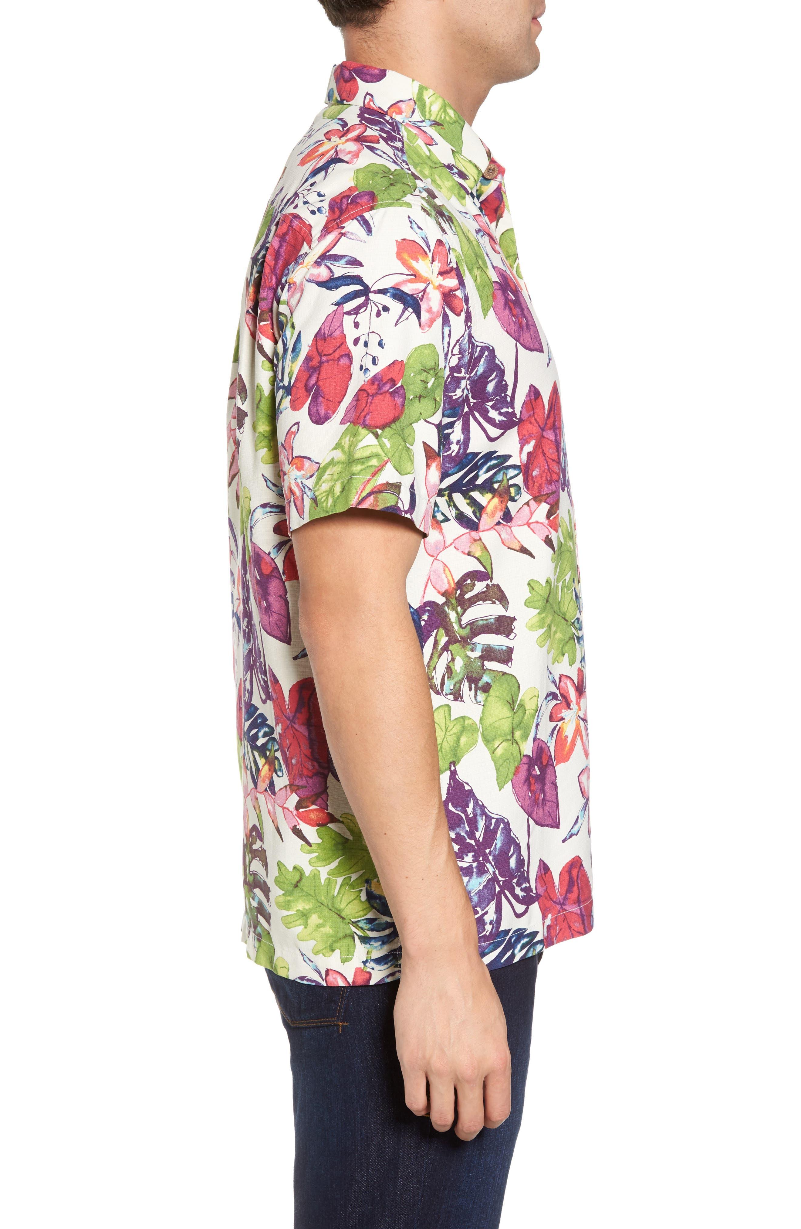 Riviera Garden Floral Silk Blend Camp Shirt,                             Alternate thumbnail 3, color,                             Cloud