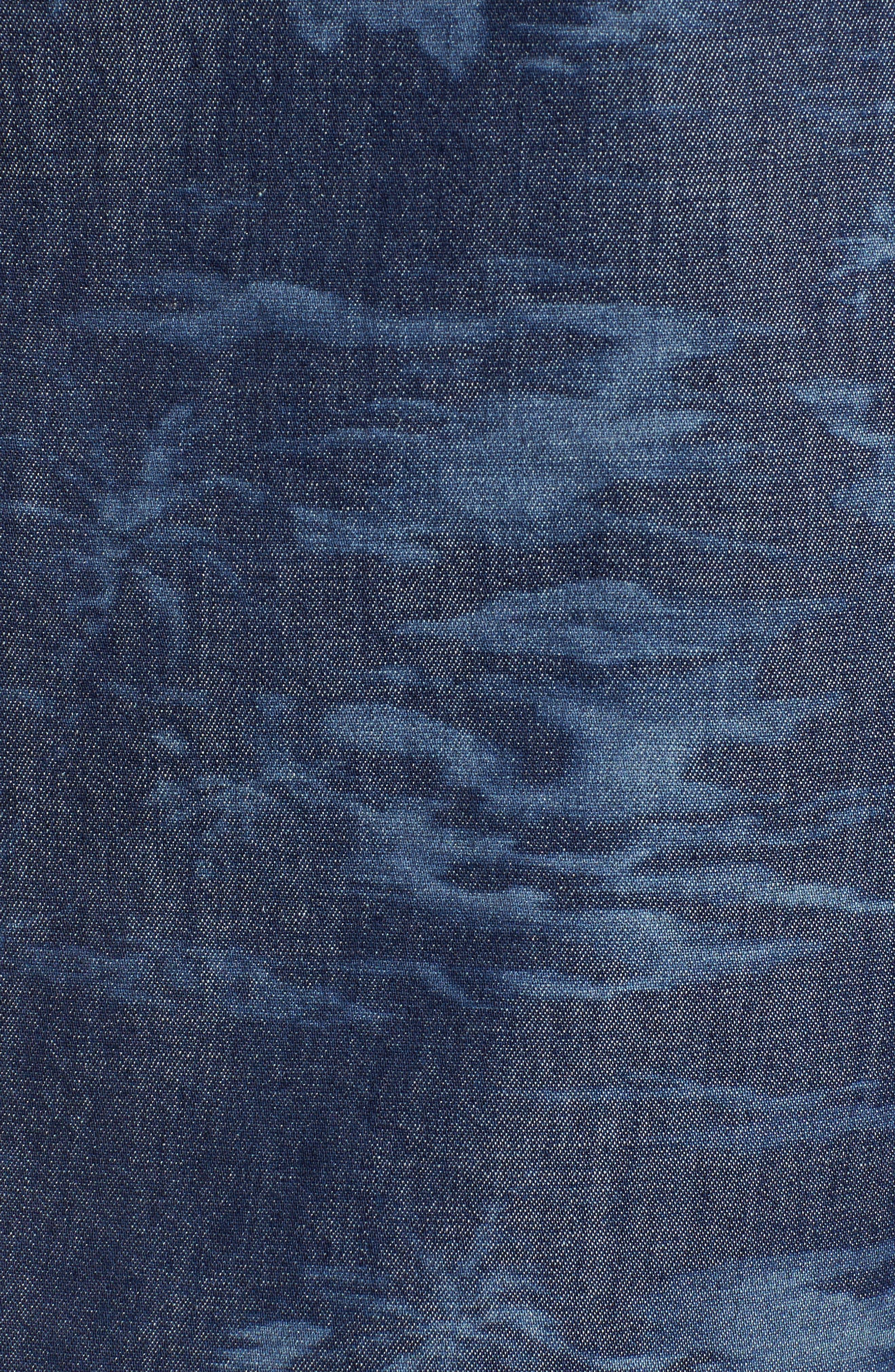South Beach Scenic Cotton & Silk Camp Shirt,                             Alternate thumbnail 5, color,                             Indigo