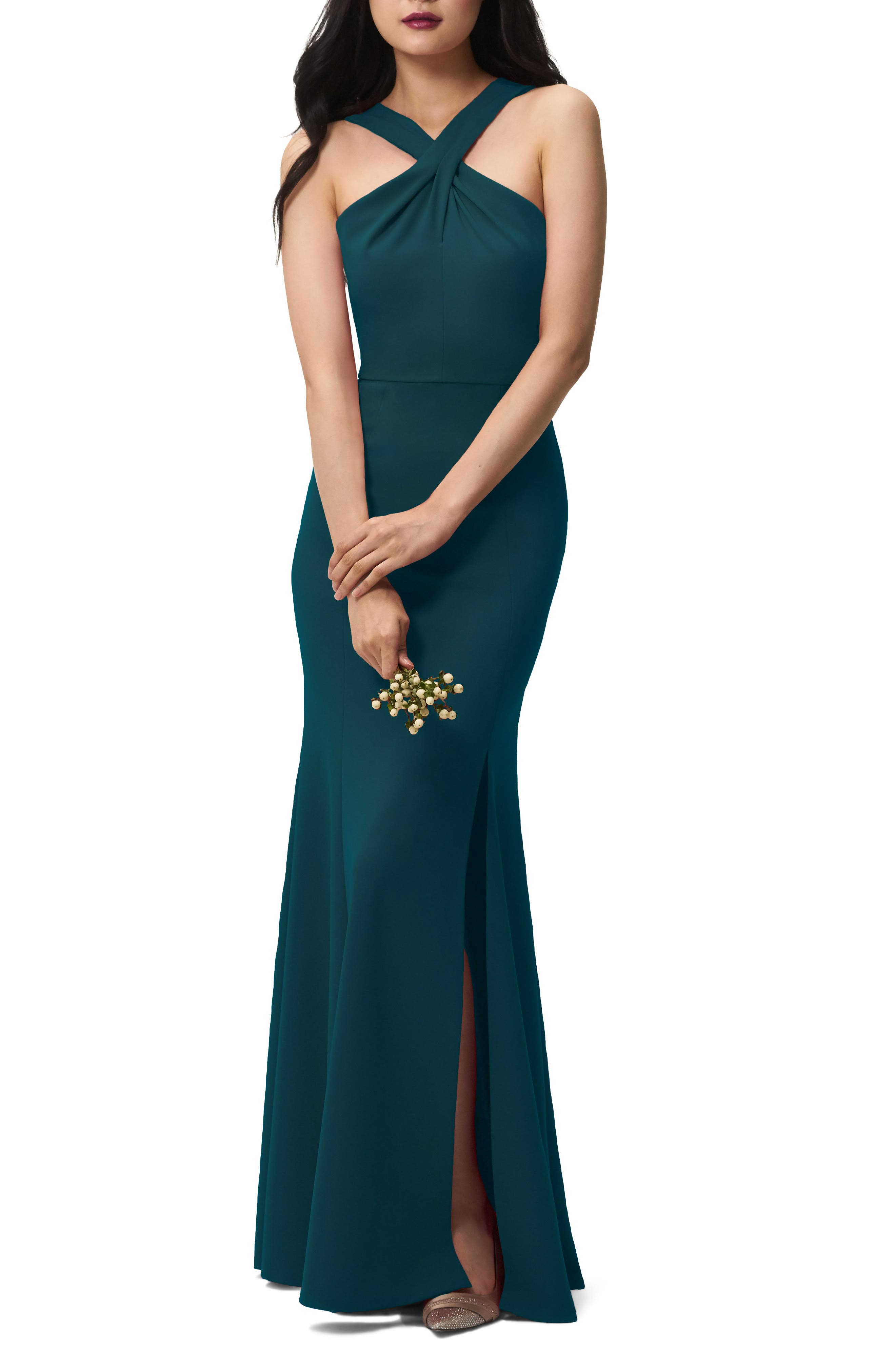 Alternate Image 2  - Jenny Yoo Kayleigh Cross Front Crepe Knit Gown