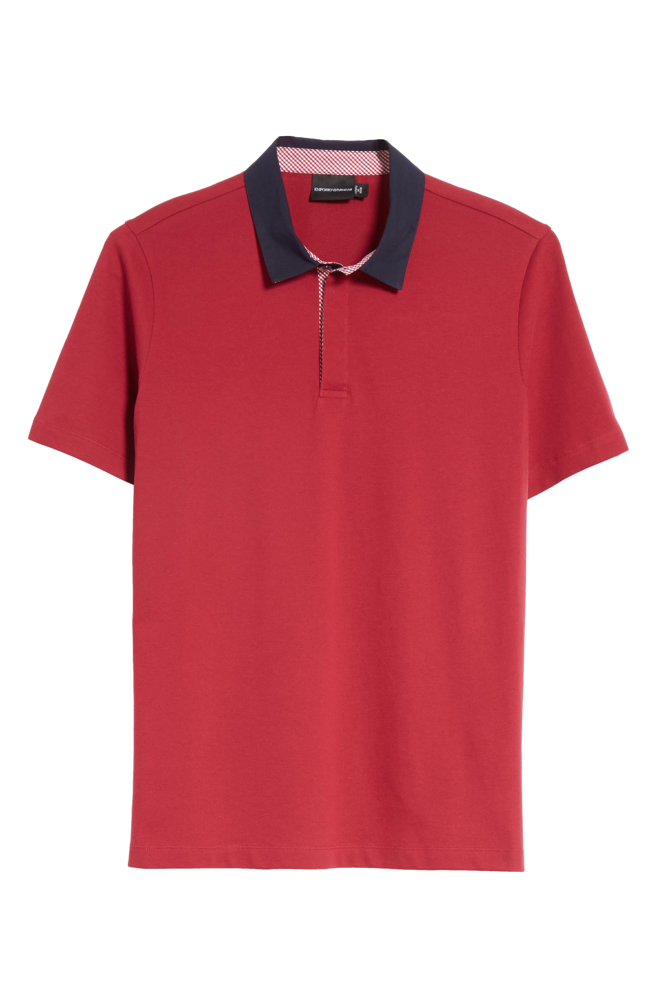 Slim Fit Piqué Polo Shirt,                             Alternate thumbnail 6, color,                             Borgogna