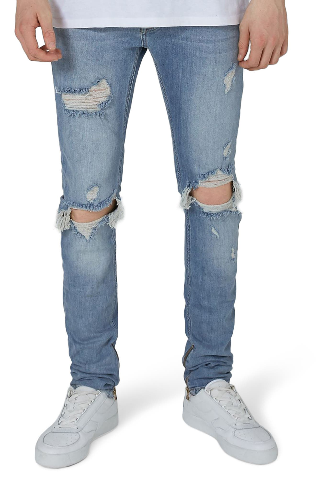 Destroyed Stacker Jeans,                         Main,                         color, Blue
