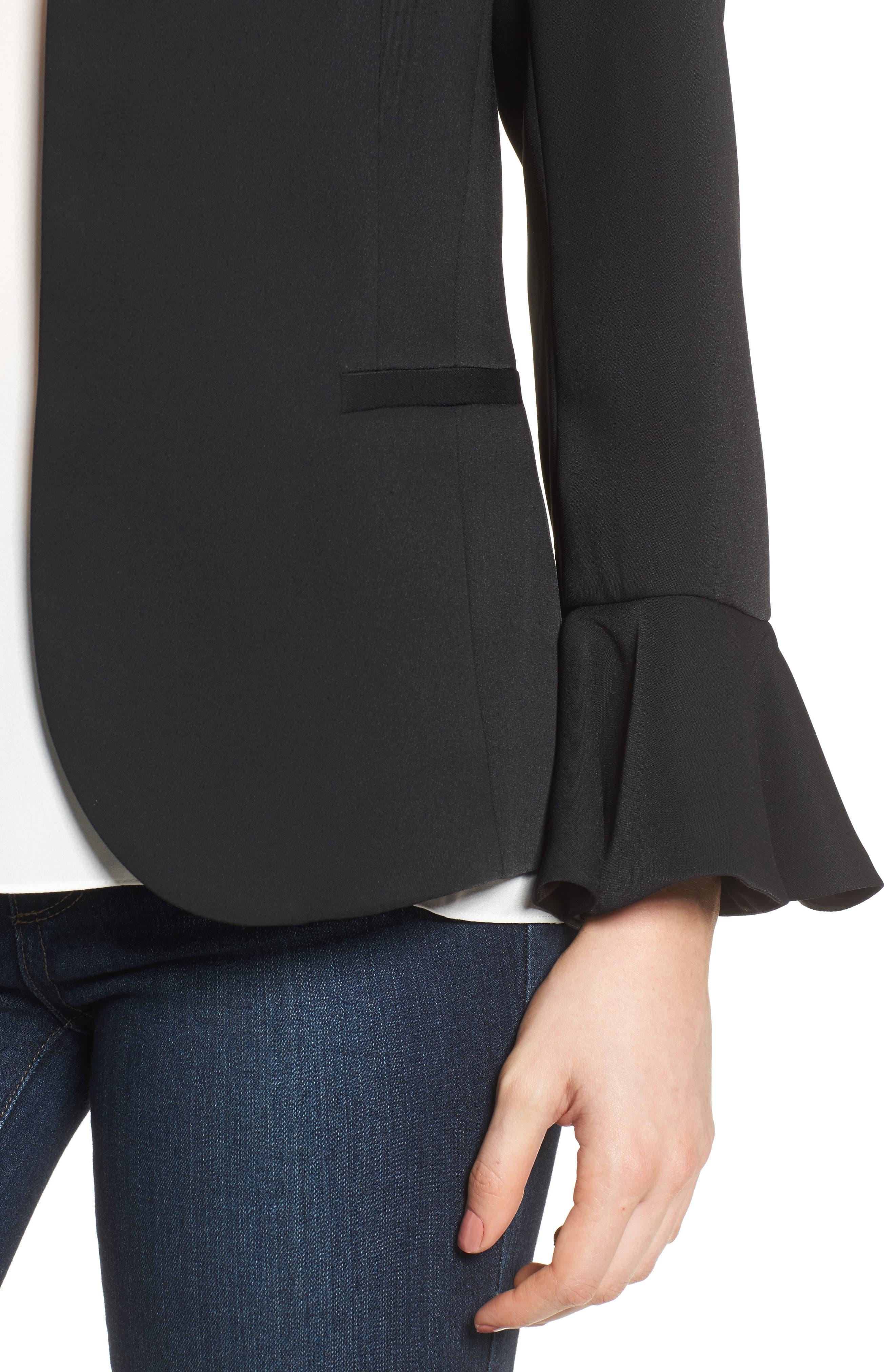 Bell Sleeve Blazer,                             Alternate thumbnail 4, color,                             Black