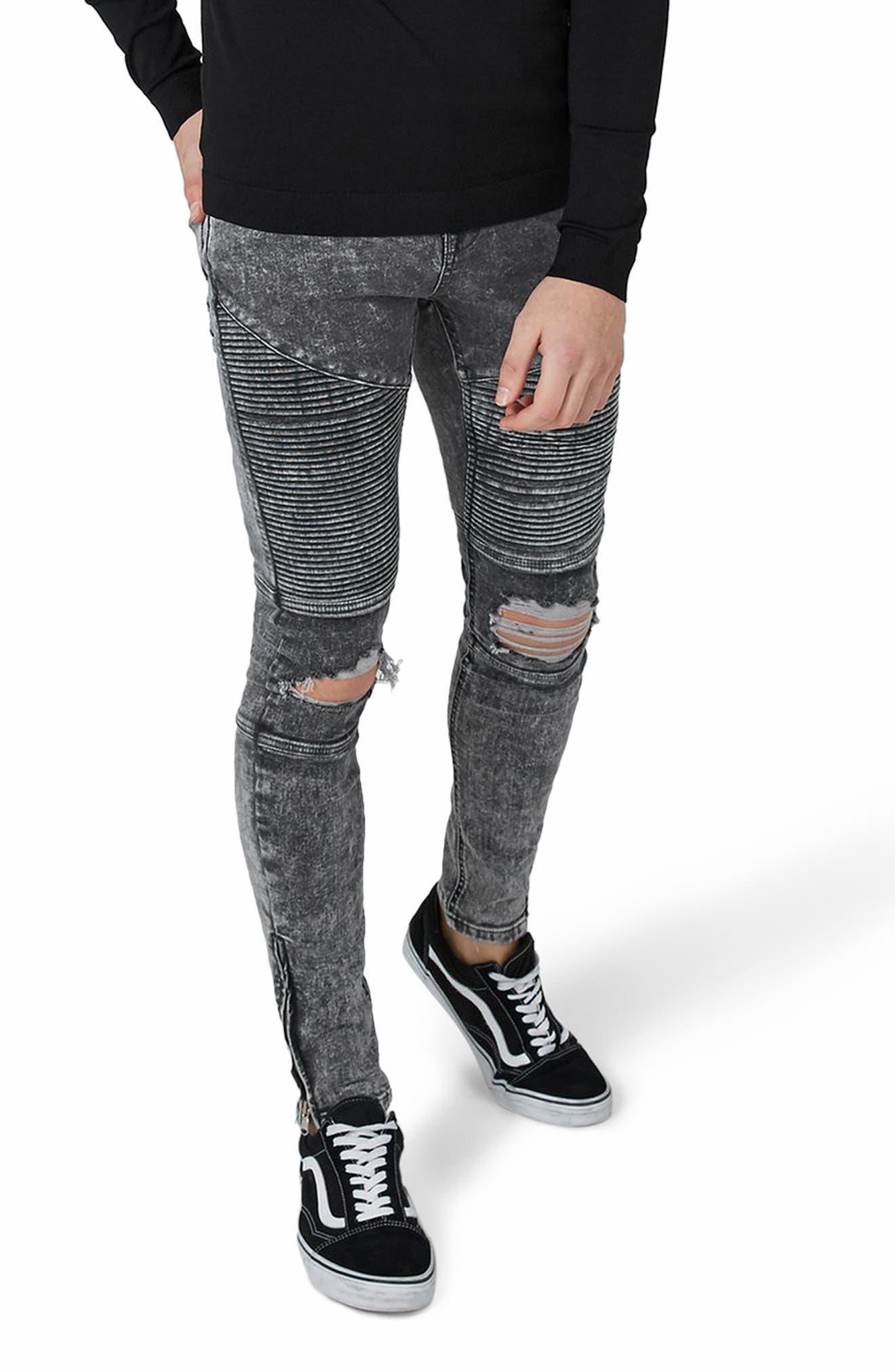Acid Wash Spray-On Biker Jeans,                         Main,                         color, Grey
