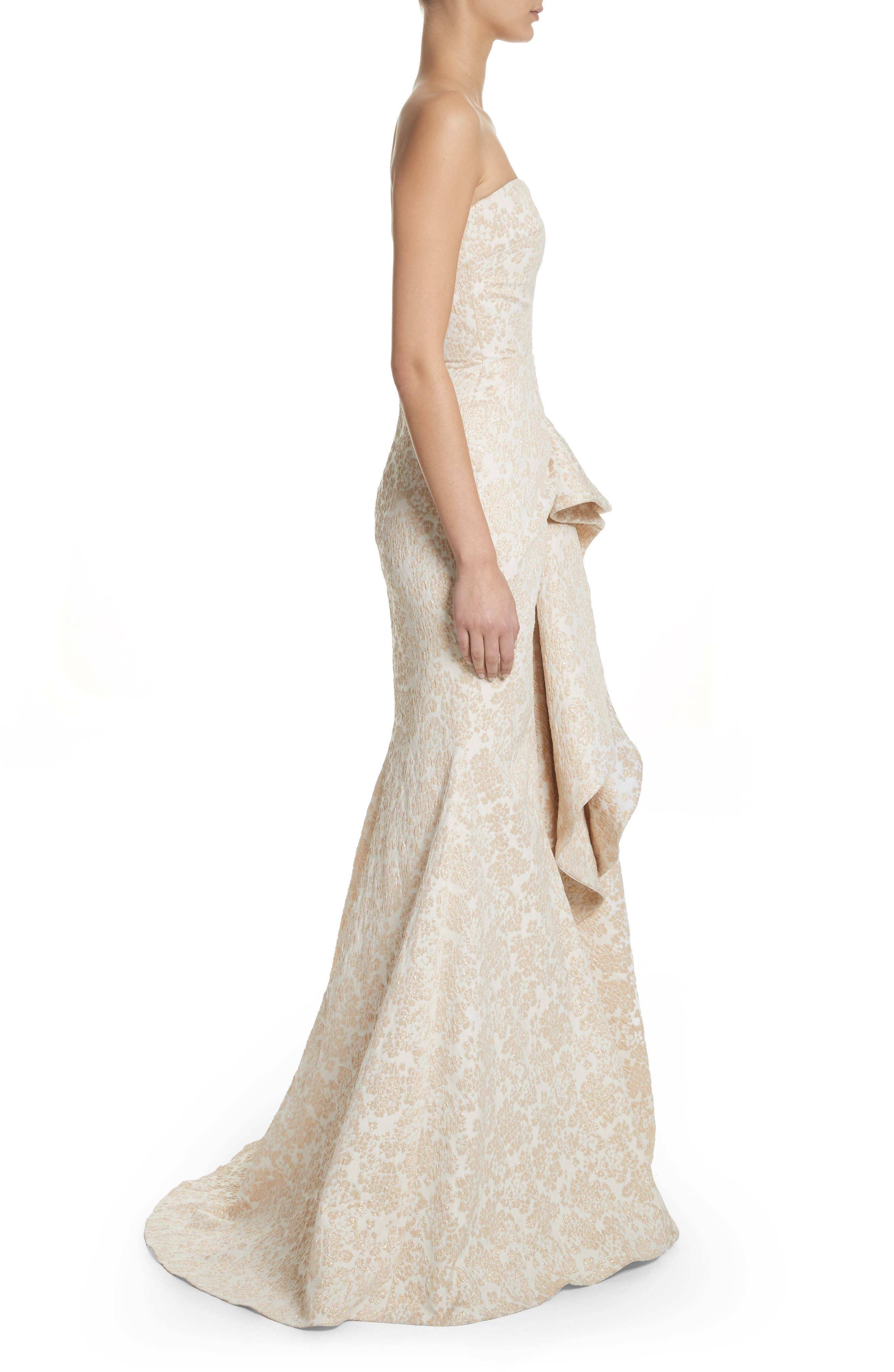 Platinum Sculptural Ruffle Gown,                             Alternate thumbnail 3, color,                             Ivory Gold