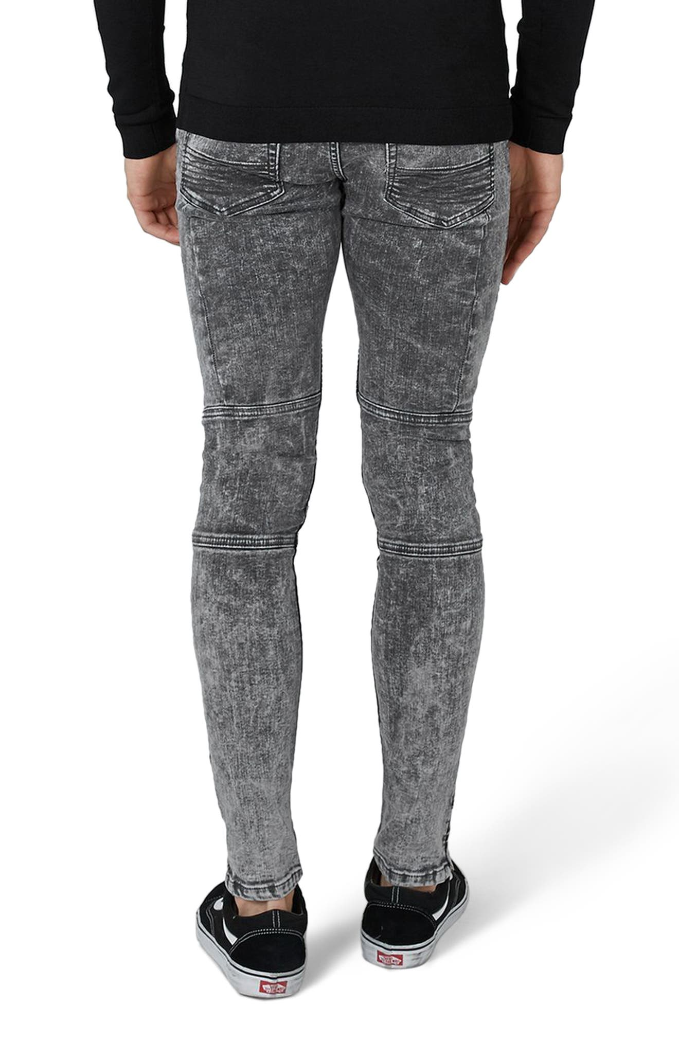 Alternate Image 2  - Topman Acid Wash Spray-On Biker Jeans