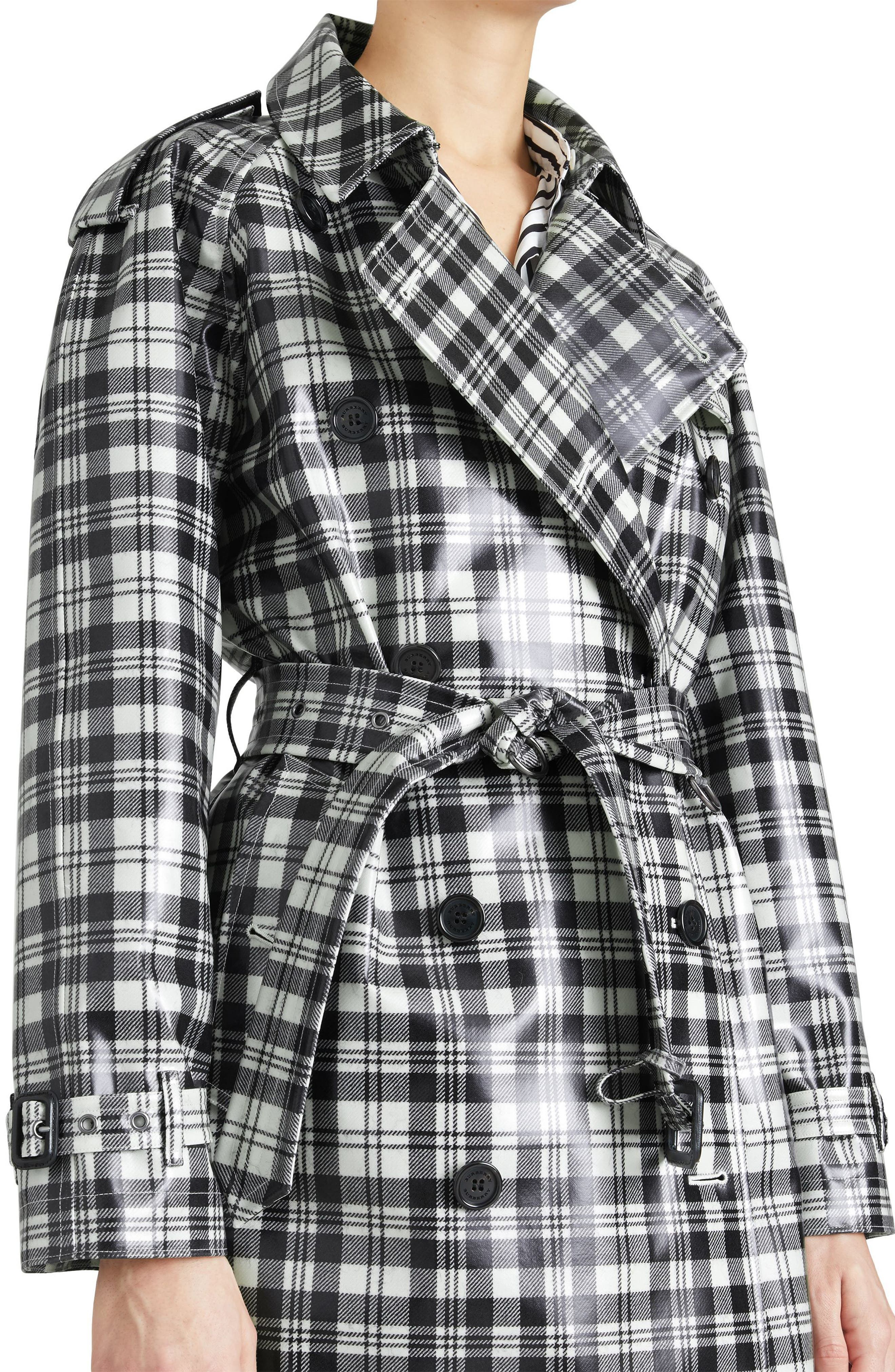 Eastheath Plaid Coated Wool Trench Coat,                             Alternate thumbnail 4, color,                             Black/ White