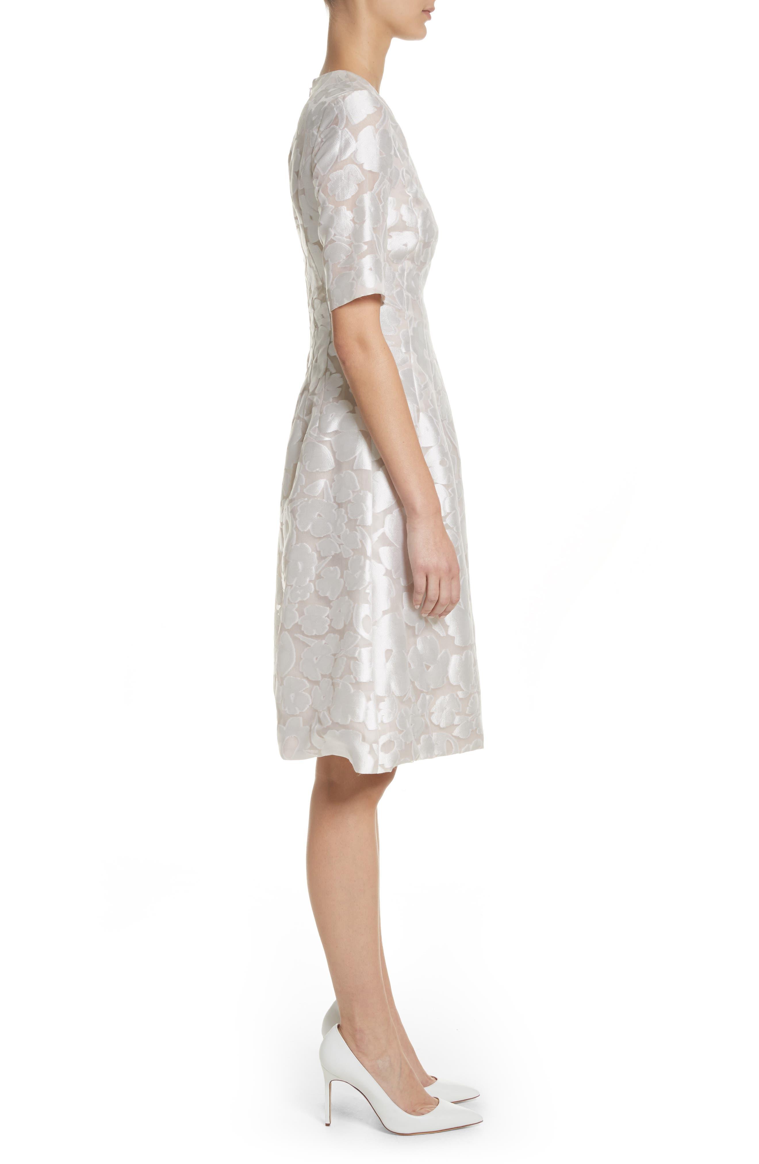 Holly Flower Print Dress,                             Alternate thumbnail 3, color,                             White