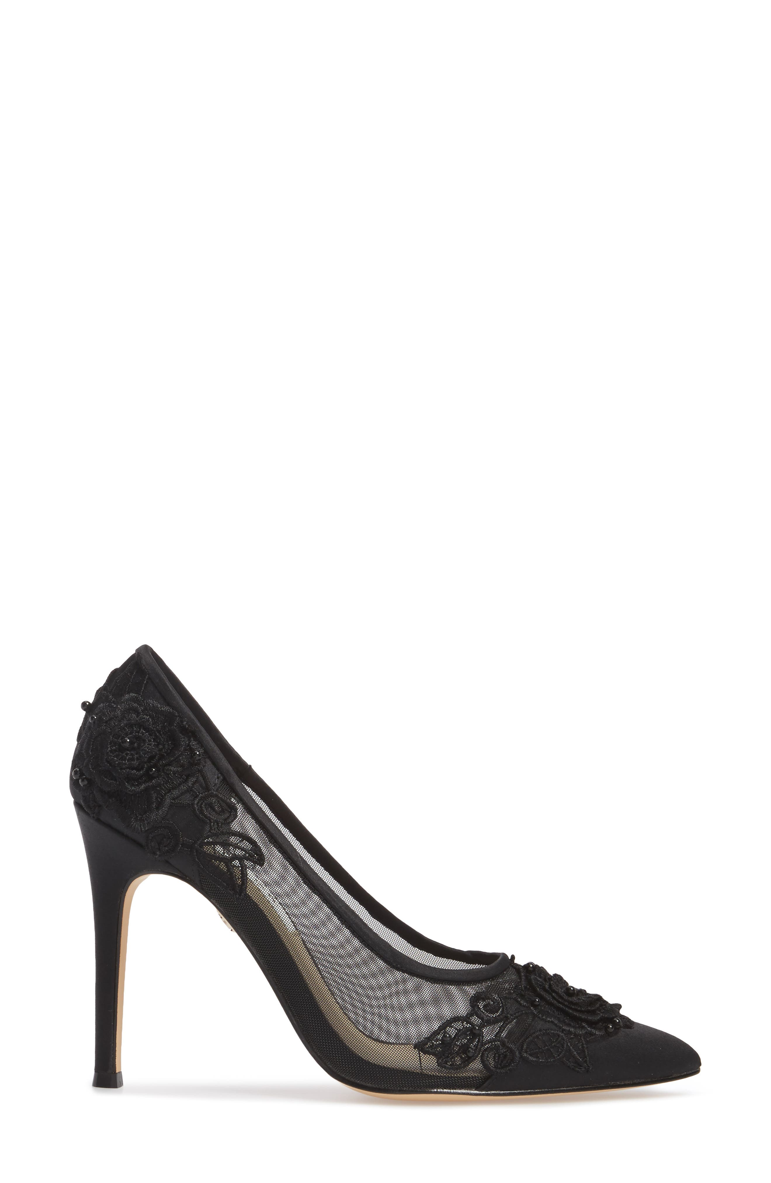 Donela Pump,                             Alternate thumbnail 3, color,                             Black Satin