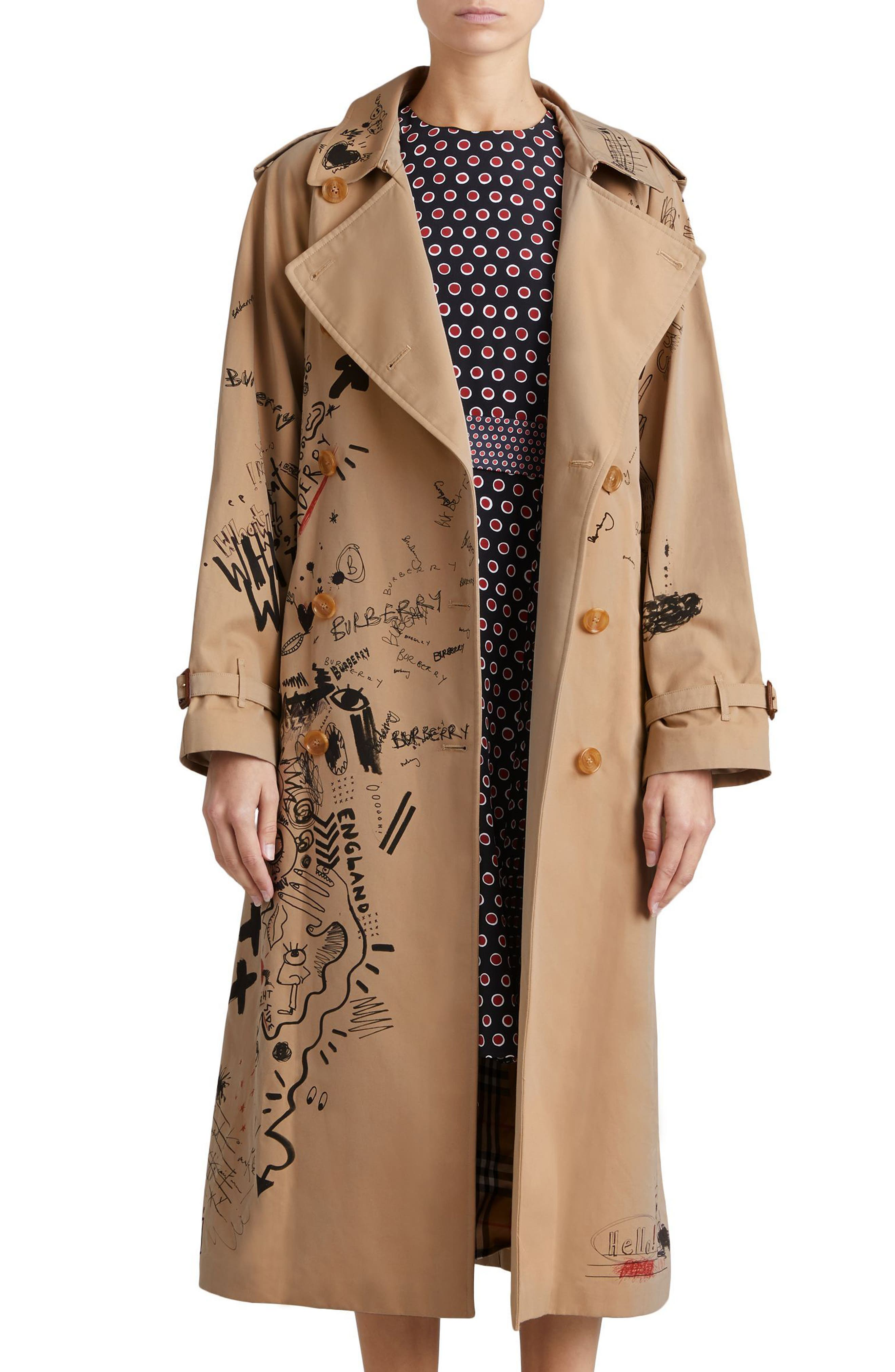 Eastheath Embellished Trench Coat,                         Main,                         color, Honey