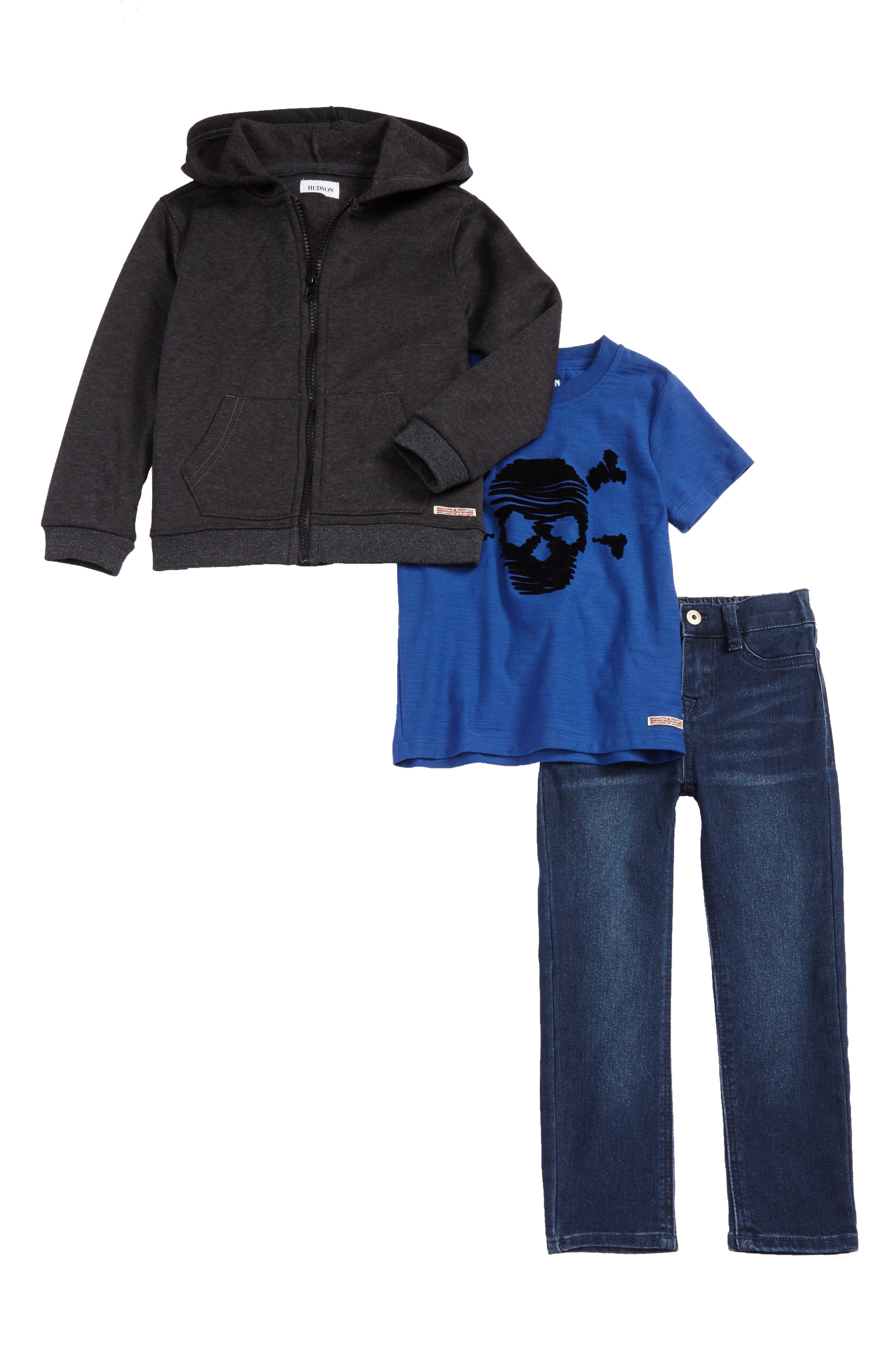 Alternate Image 1 Selected - Hudson Kids Shirt, Hoodie & Jeans Set (Toddler Boys)