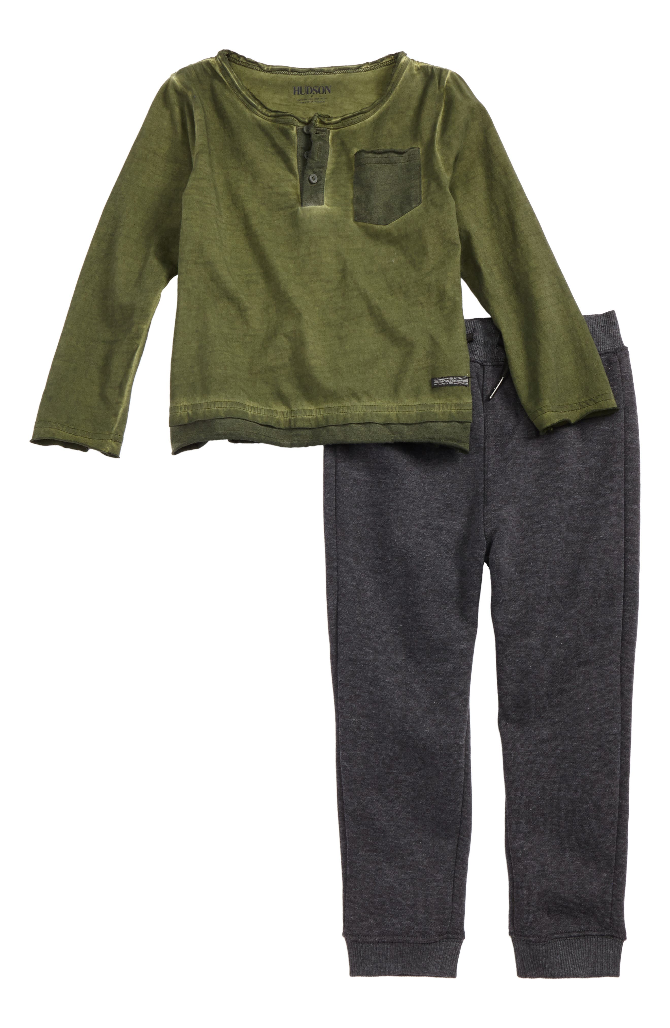 Alternate Image 1 Selected - Hudson Kids Henley Top & Sweatpants Set (Toddler Boys)