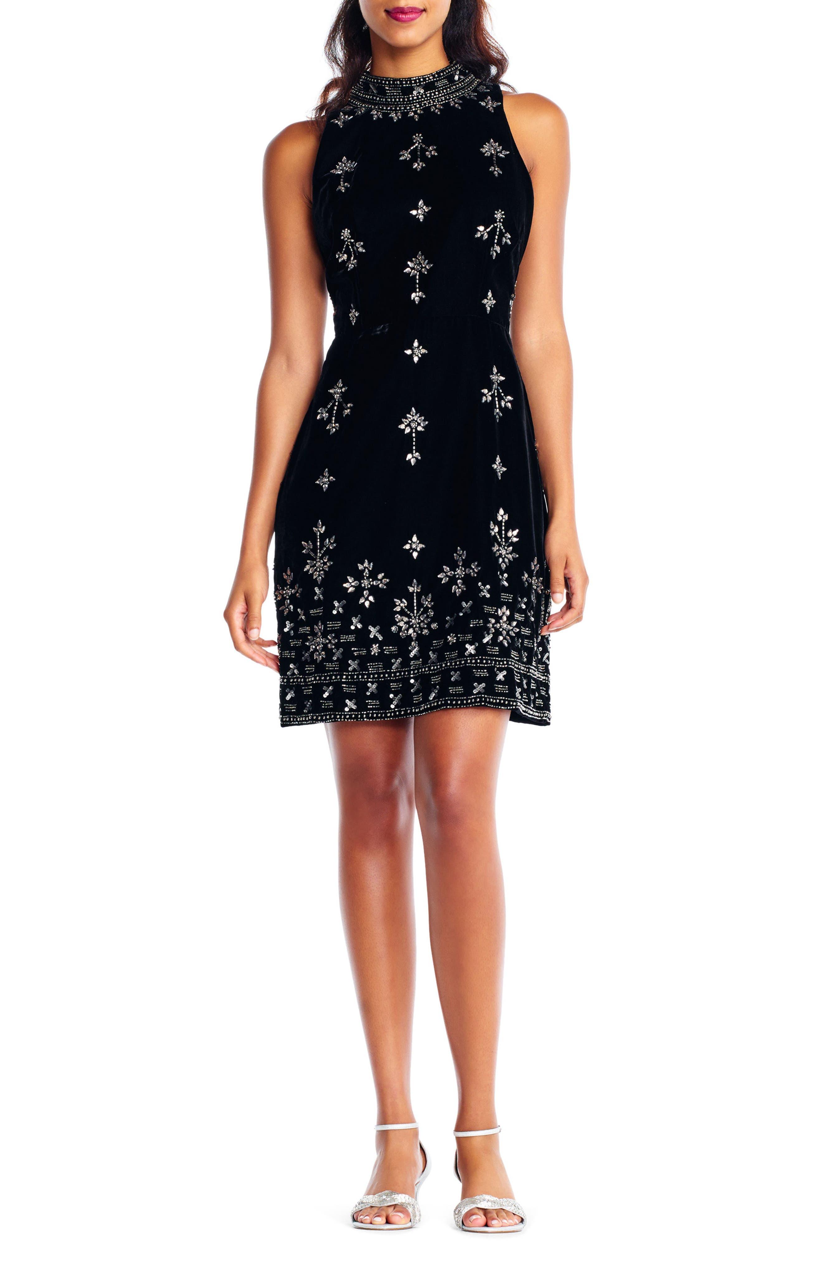 Beaded Velvet Mock Neck Sheath Dress,                             Main thumbnail 1, color,                             Black