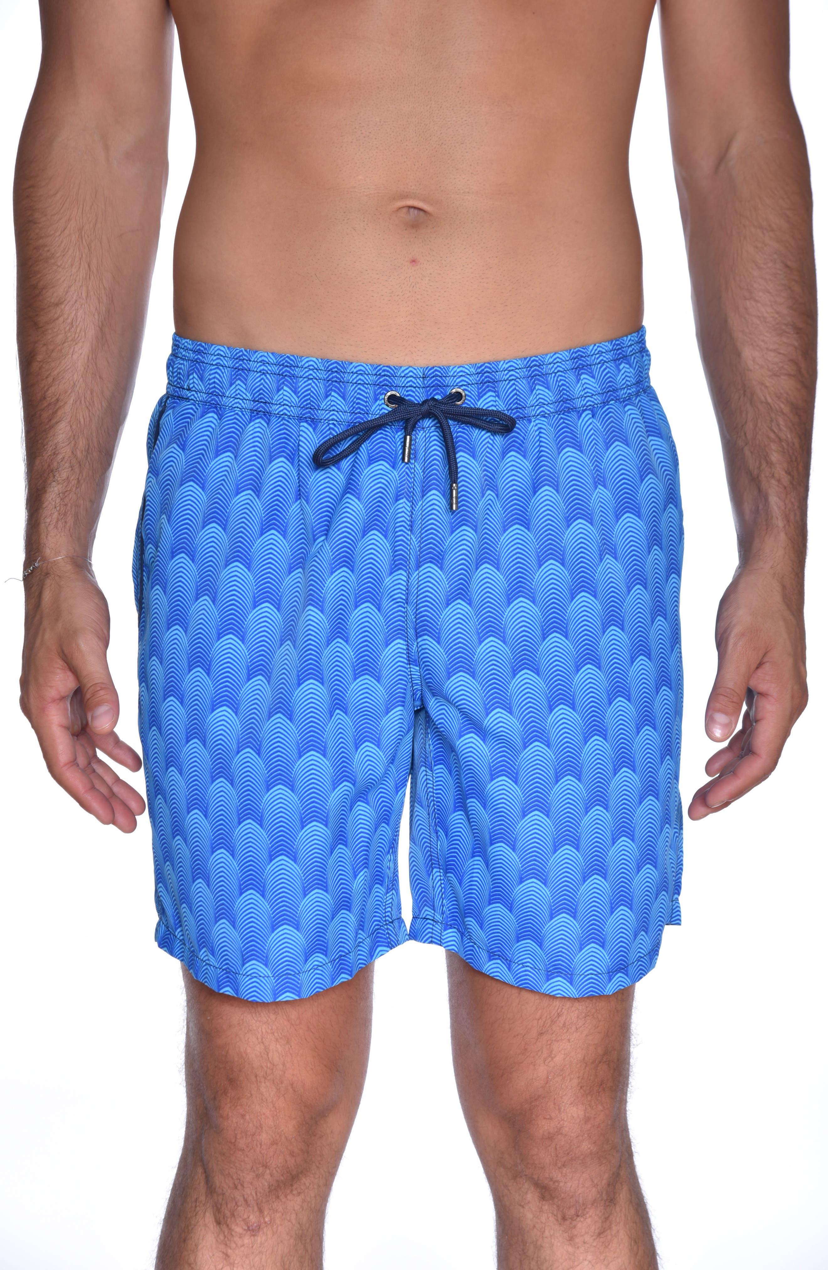 Mr. Swim Deco Print Swim Trunks,                         Main,                         color, Aqua