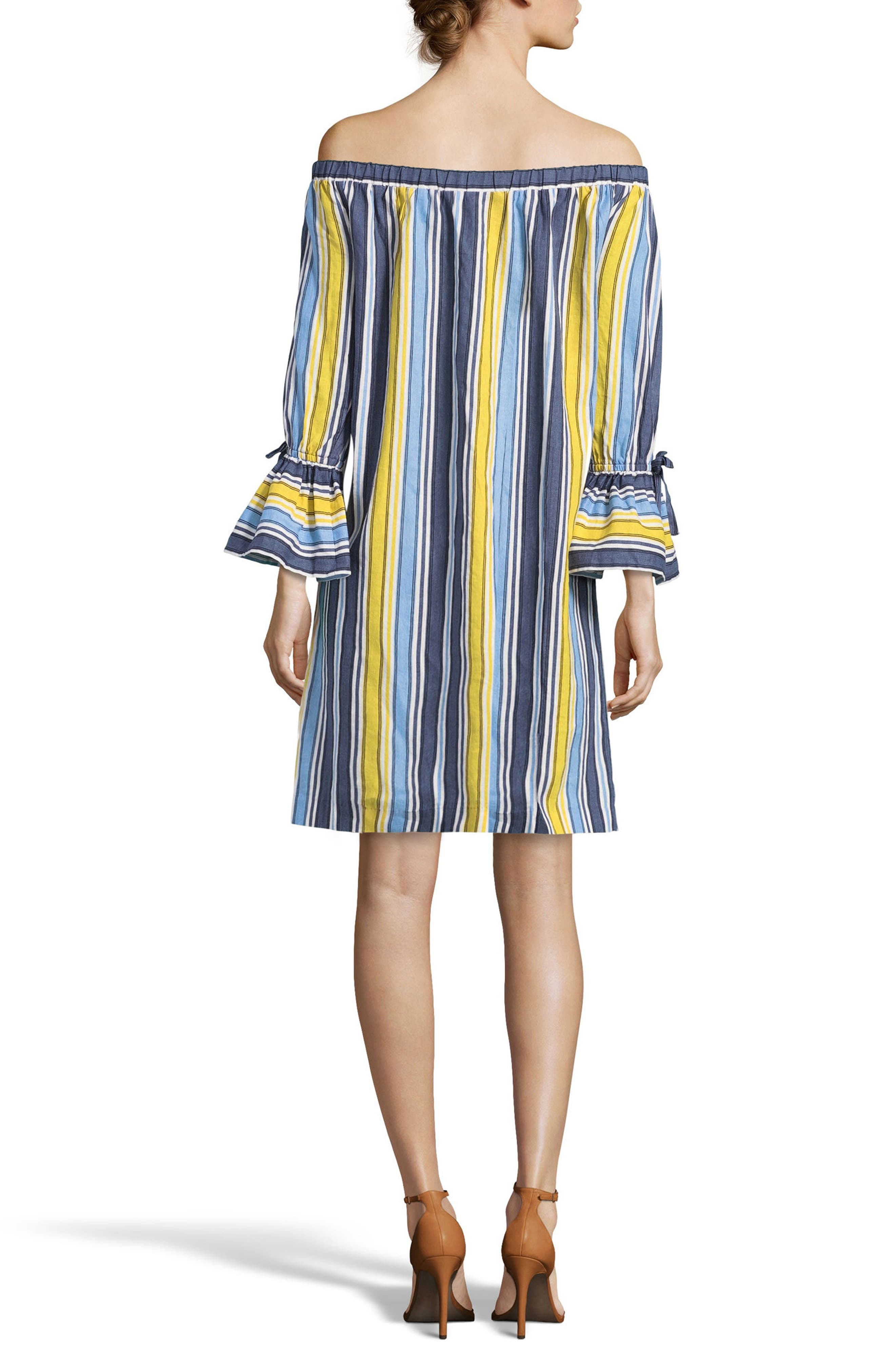 Stripe Off the Shoulder Shirtdress,                             Alternate thumbnail 2, color,                             Blue/ Yellow