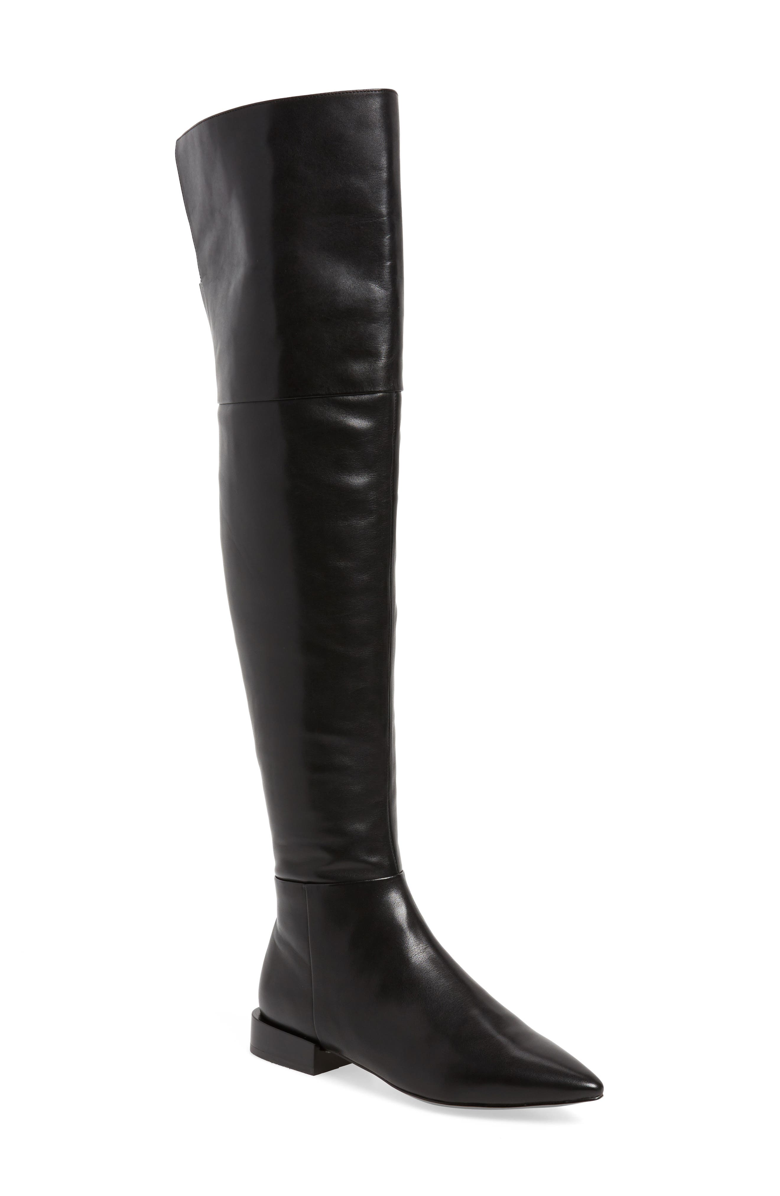 Kiki Over the Knee Boot,                             Main thumbnail 1, color,                             Black Leather