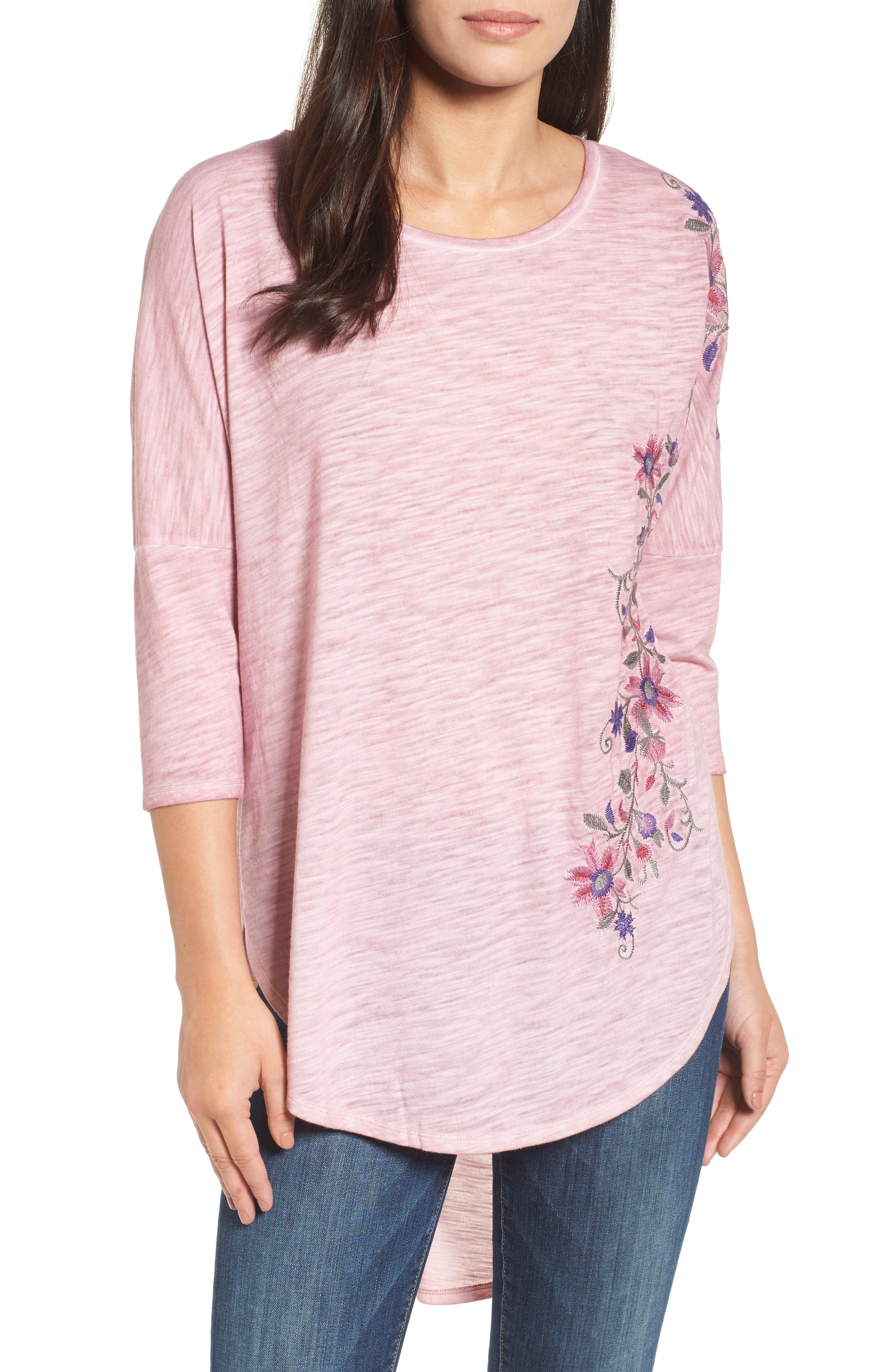 Embroidered Slub Knit Top,                         Main,                         color, Dark Pink