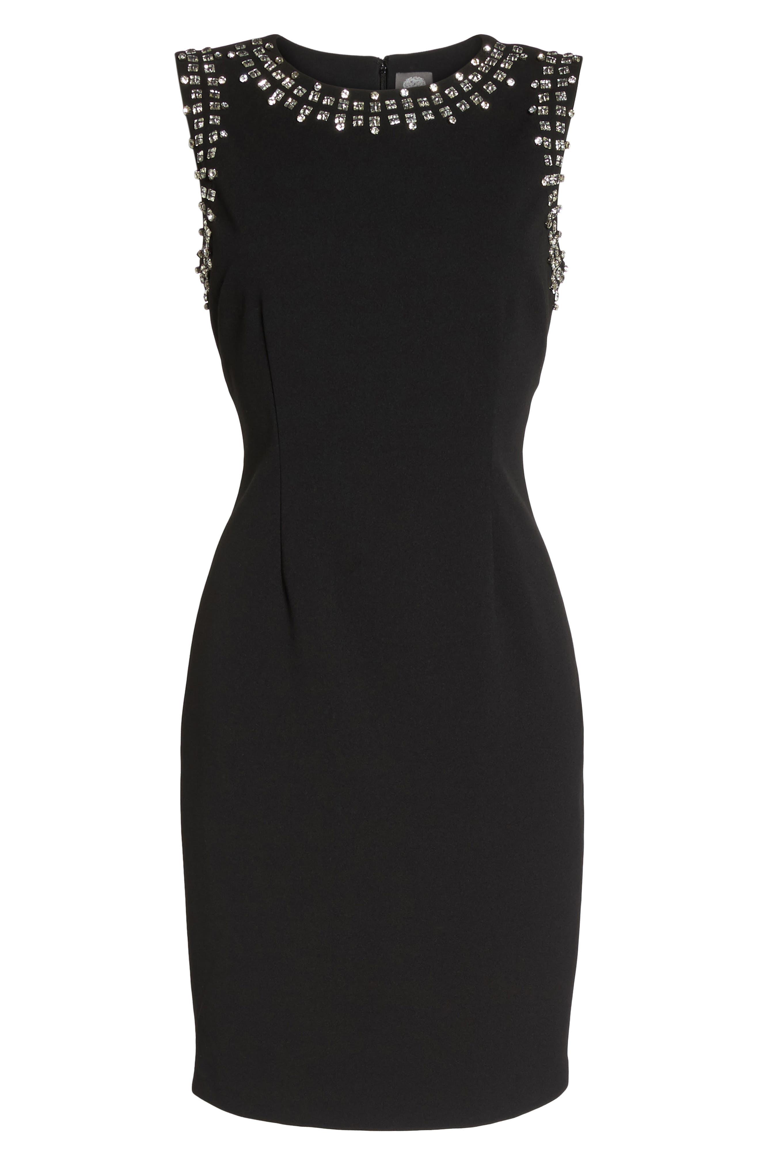 Bead Embellished Crepe Shift Dress,                             Alternate thumbnail 6, color,                             Black