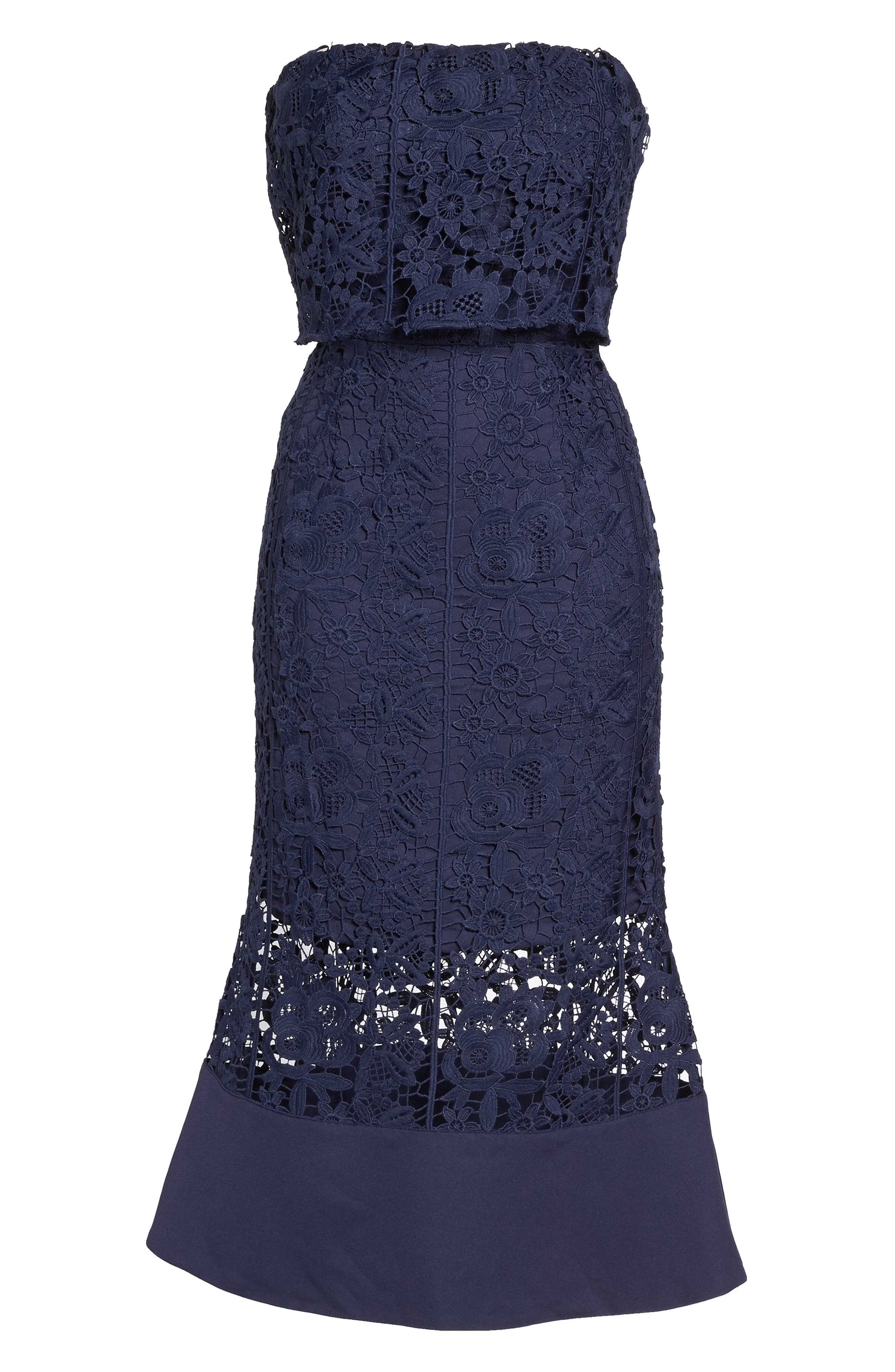 Xenia Strapless Lace Midi Dress,                             Alternate thumbnail 6, color,                             Navy