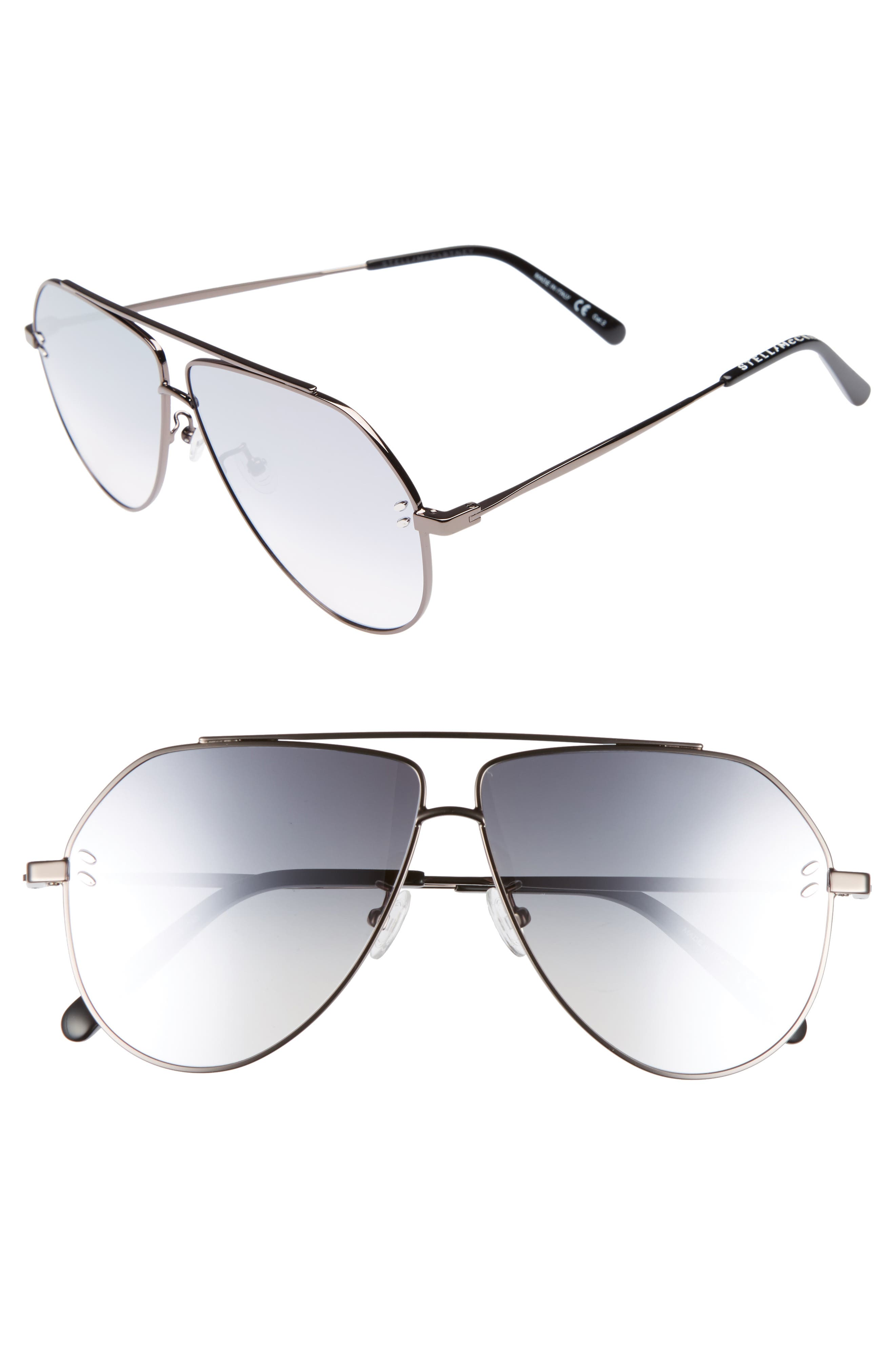 60MM AVIATOR SUNGLASSES - RUTHENIUM