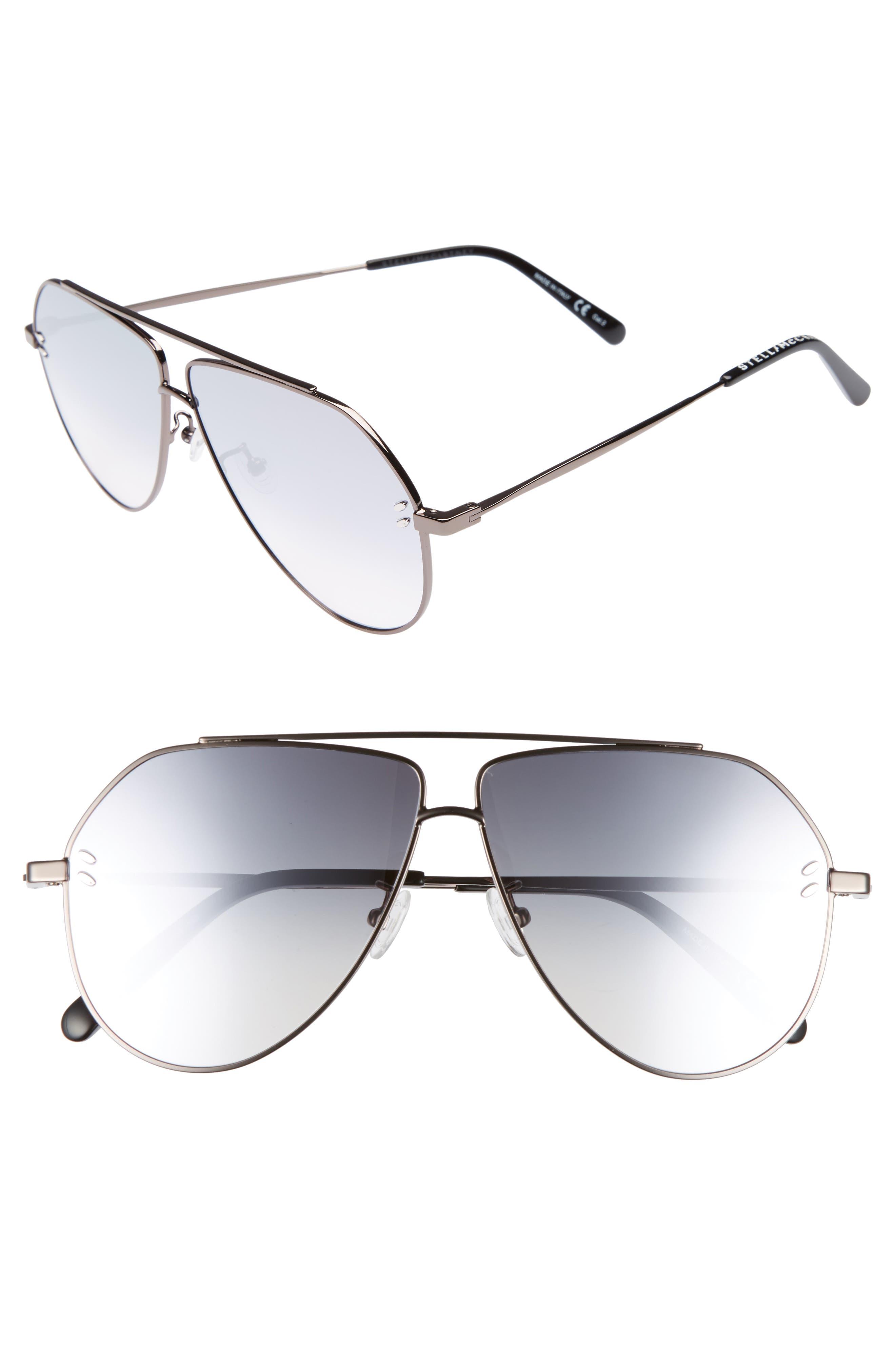 60mm Aviator Sunglasses,                             Main thumbnail 1, color,                             Ruthenium