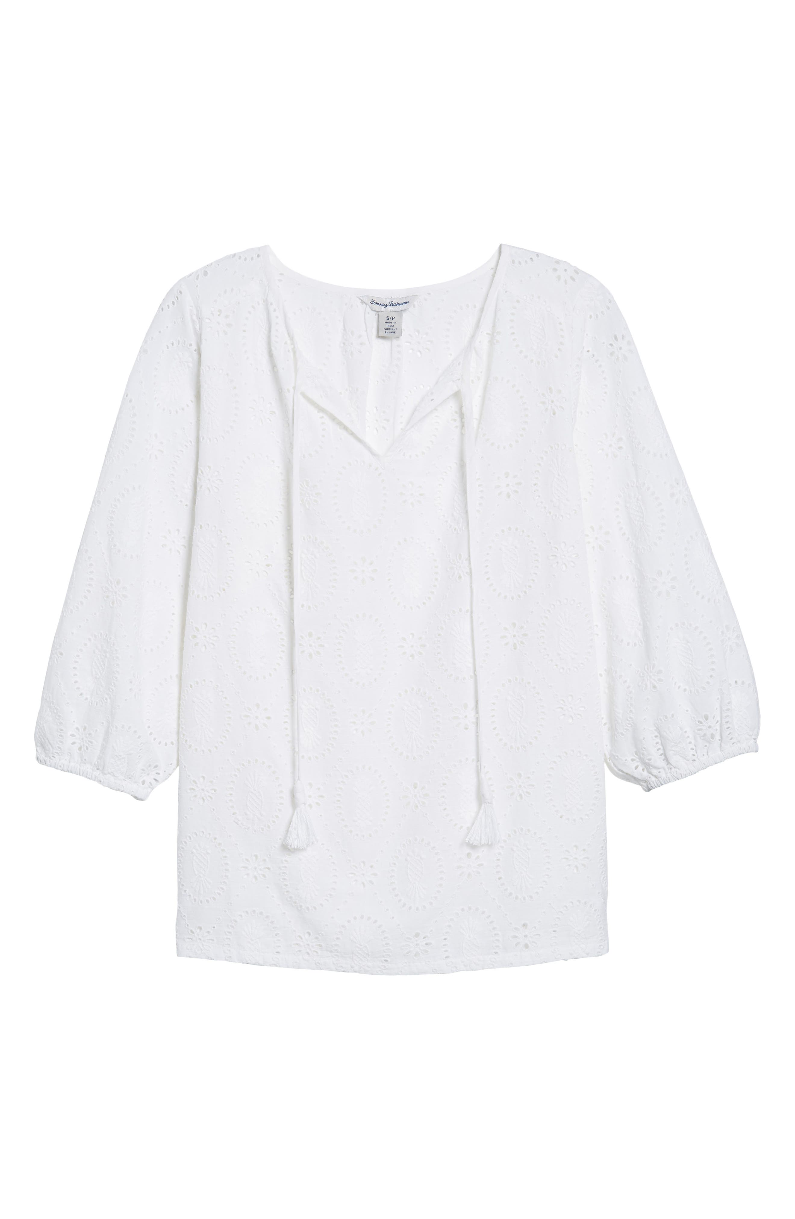 Pineapple Blossoms Tie Neck Blouse,                             Alternate thumbnail 6, color,                             White