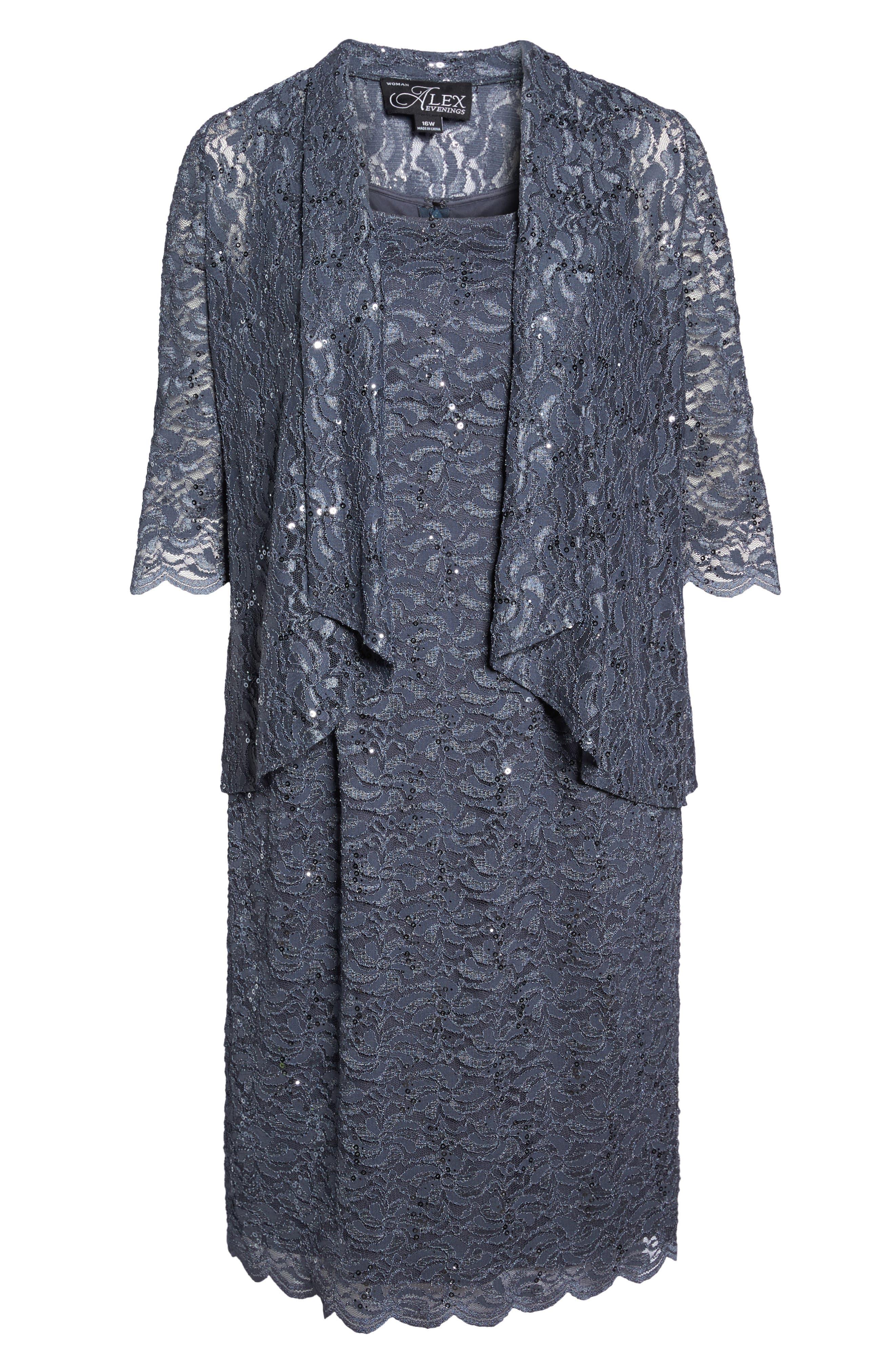 Sequin Lace Jacket Dress,                             Alternate thumbnail 6, color,                             Blue Smoke