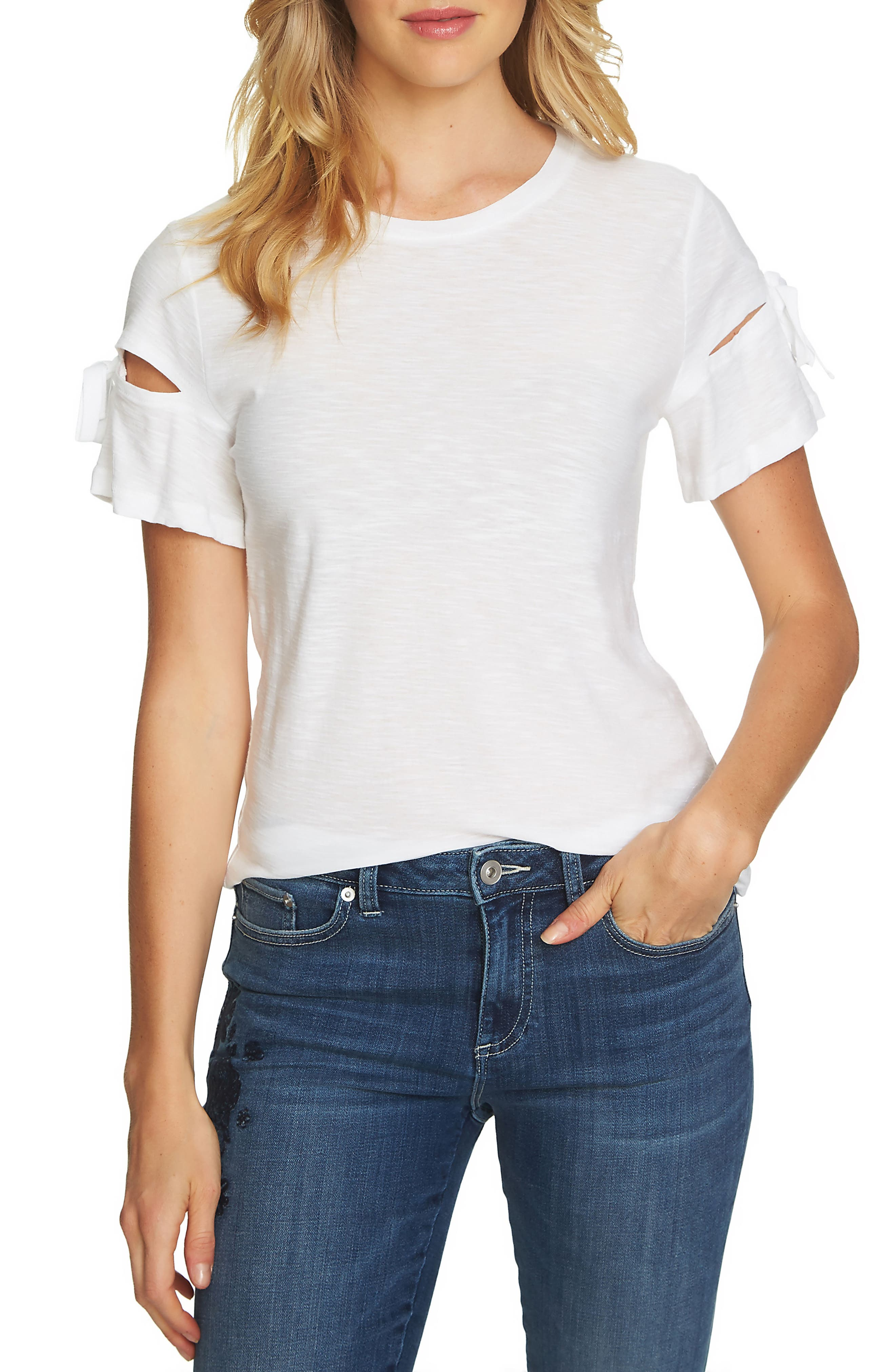 Alternate Image 1 Selected - CeCe Bow Trim Tee