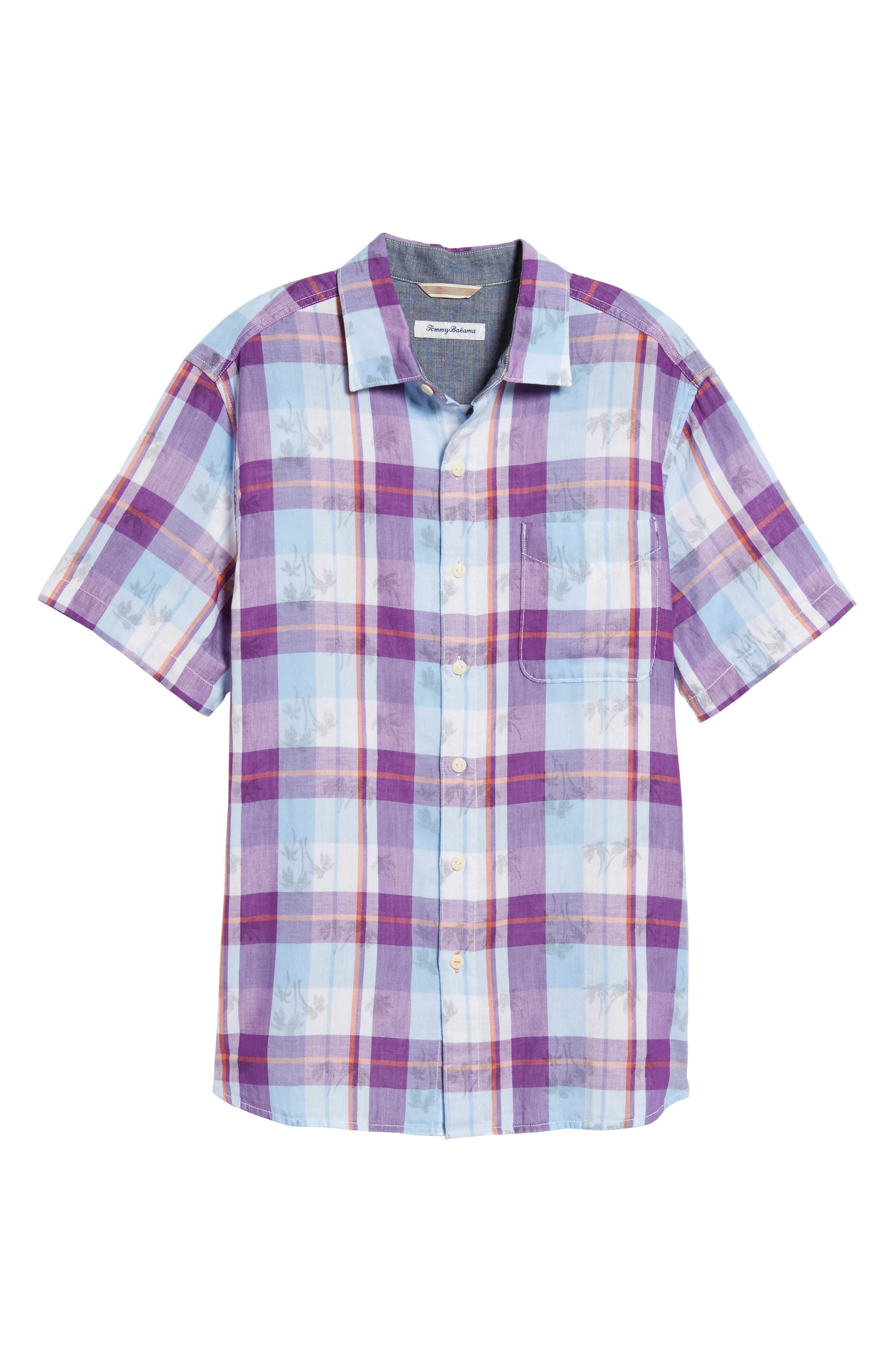 Double Flora Plaid Cotton Camp Shirt,                             Alternate thumbnail 6, color,                             Spring Fuchsia