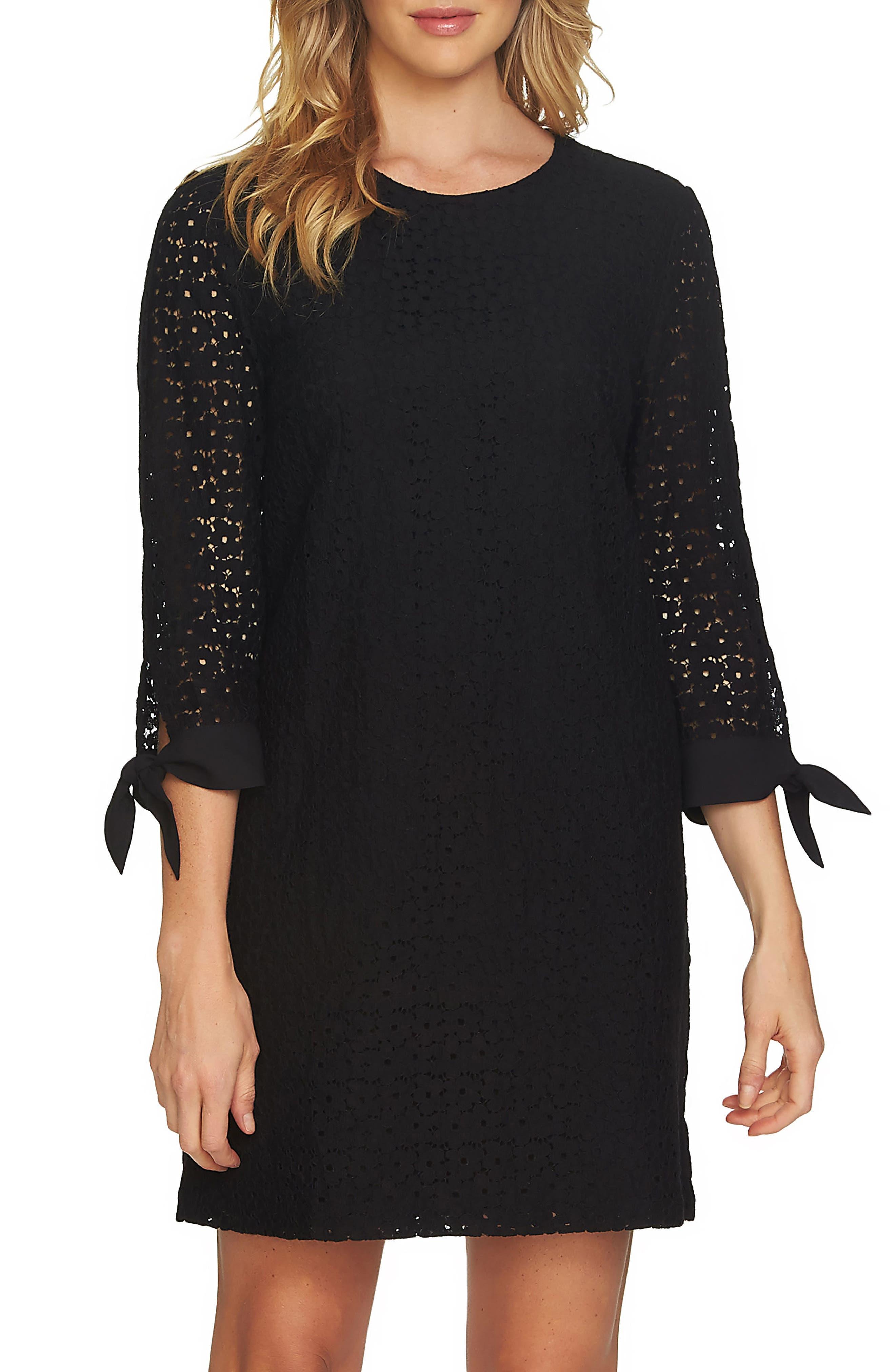 Tie Sleeve Floral Lace Shift Dress,                         Main,                         color, Rich Black