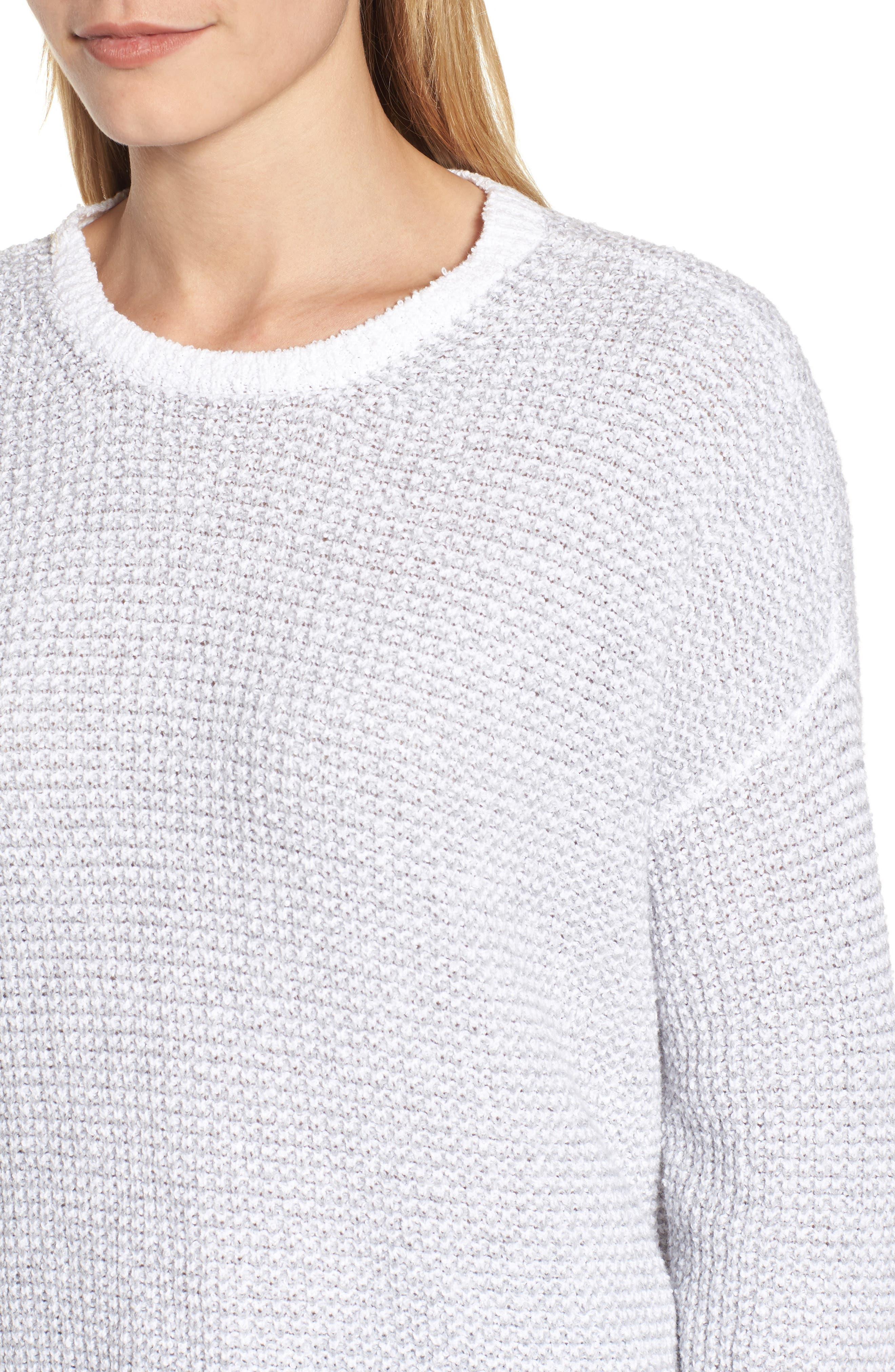 Waffled Organic Cotton Sweater,                             Alternate thumbnail 4, color,                             Dark Pearl