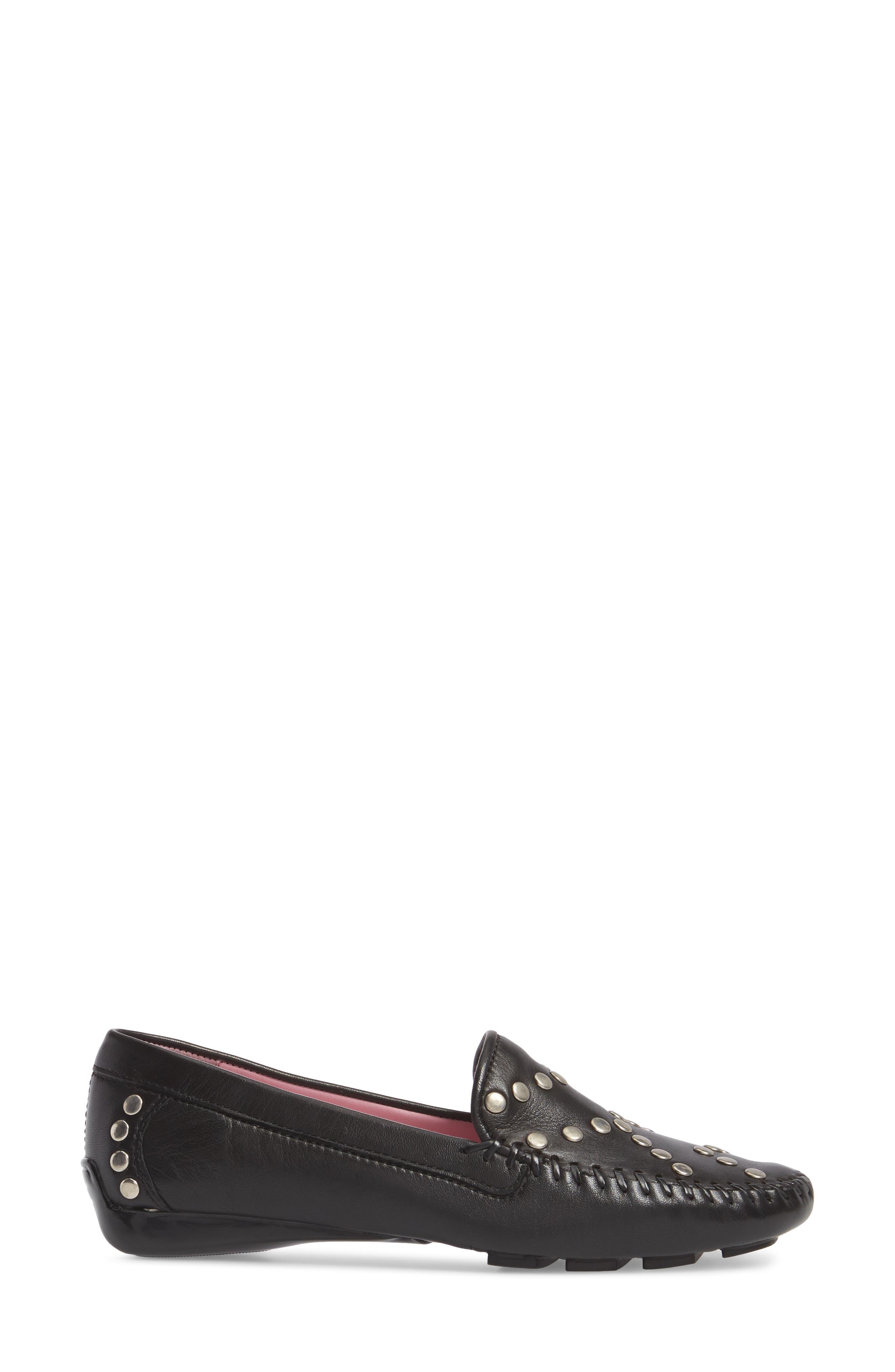 Tinae Studded Loafer,                             Alternate thumbnail 3, color,                             Black Leather