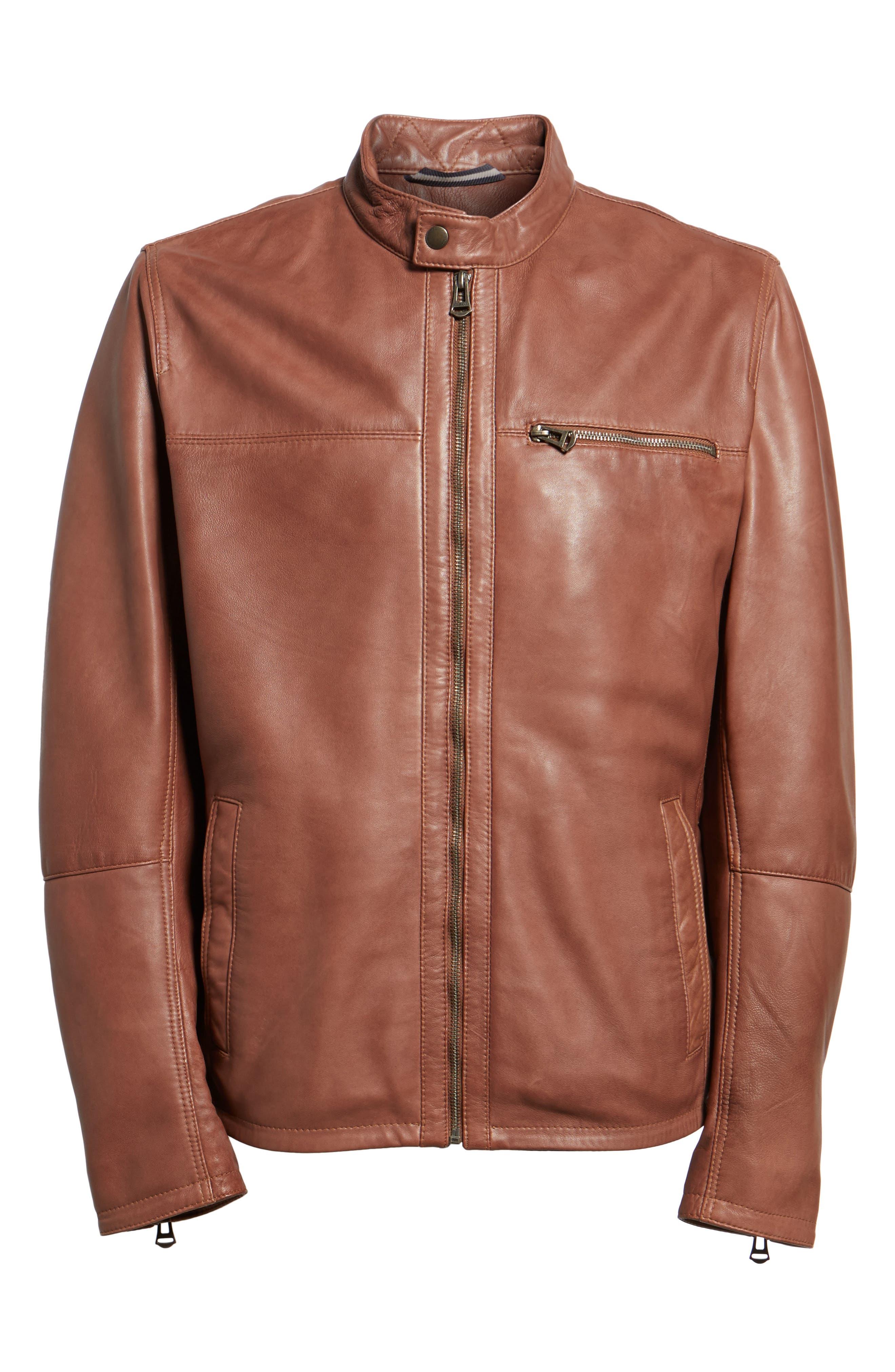 Washed Lamb Leather Moto Jacket,                             Alternate thumbnail 6, color,                             British Tan