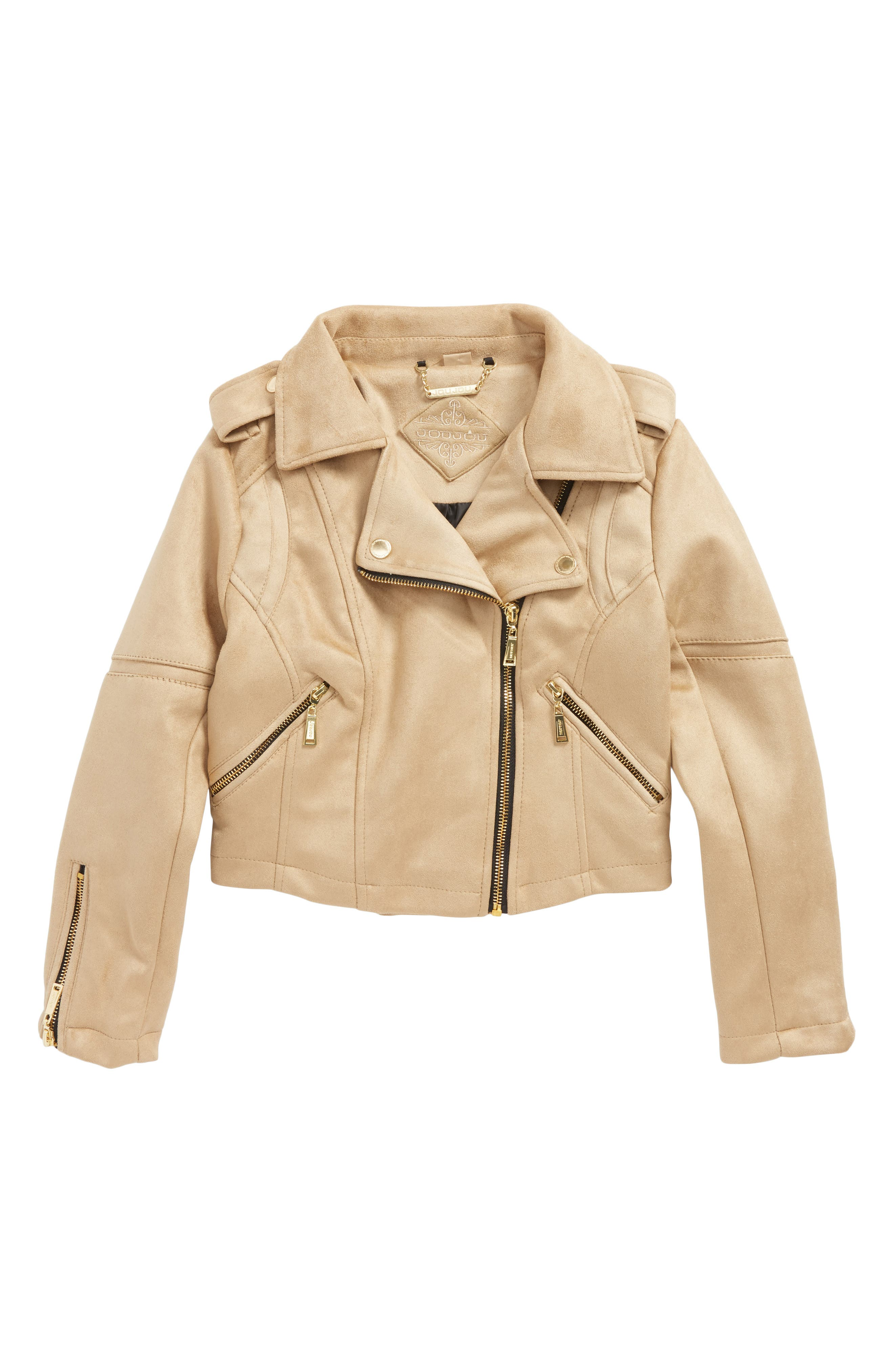 Faux Suede Moto Jacket,                             Main thumbnail 1, color,                             Sand