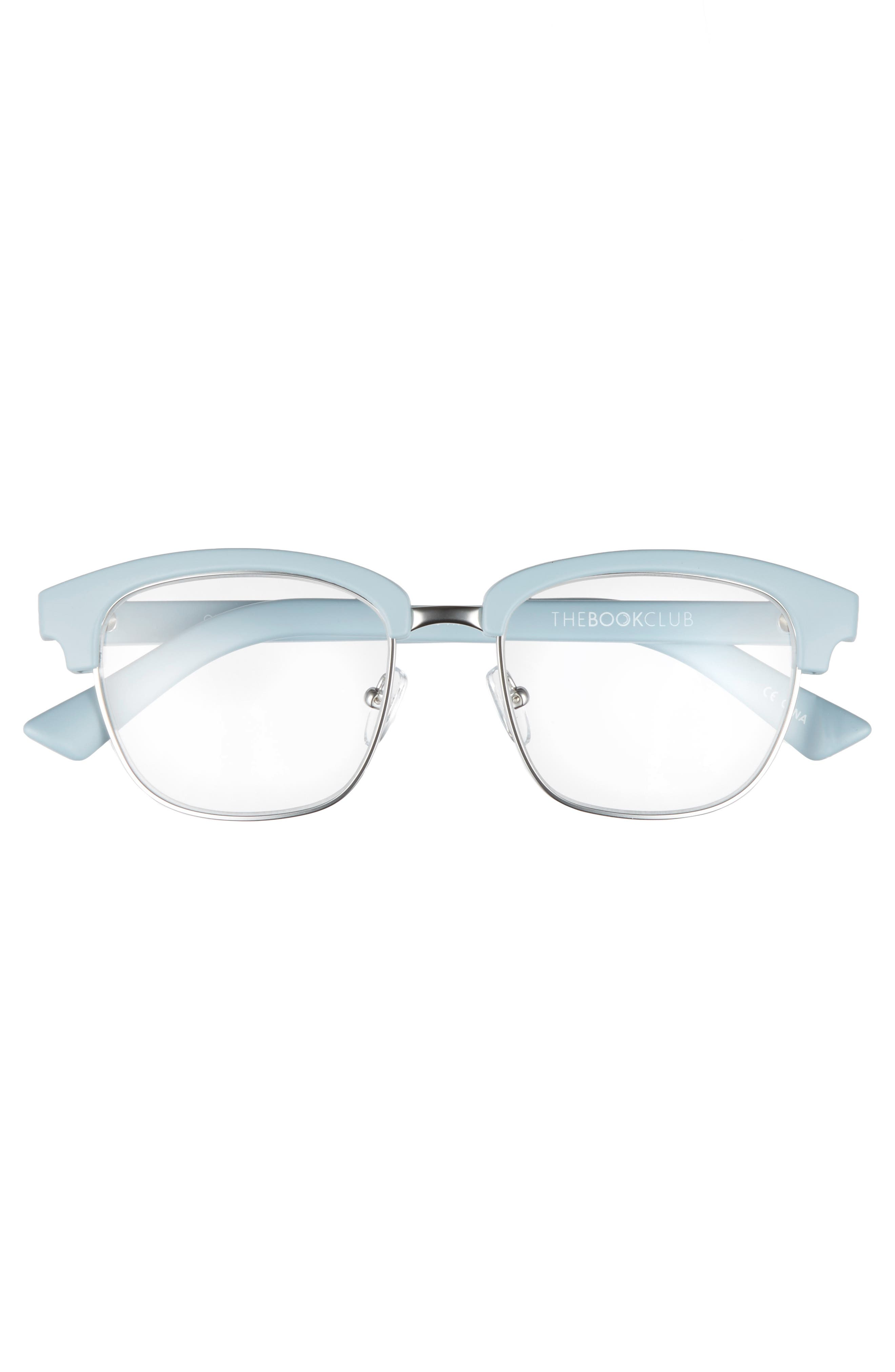 One Drew Over the English Test 52mm Reading Glasses,                             Alternate thumbnail 3, color,                             Sky/ Silver