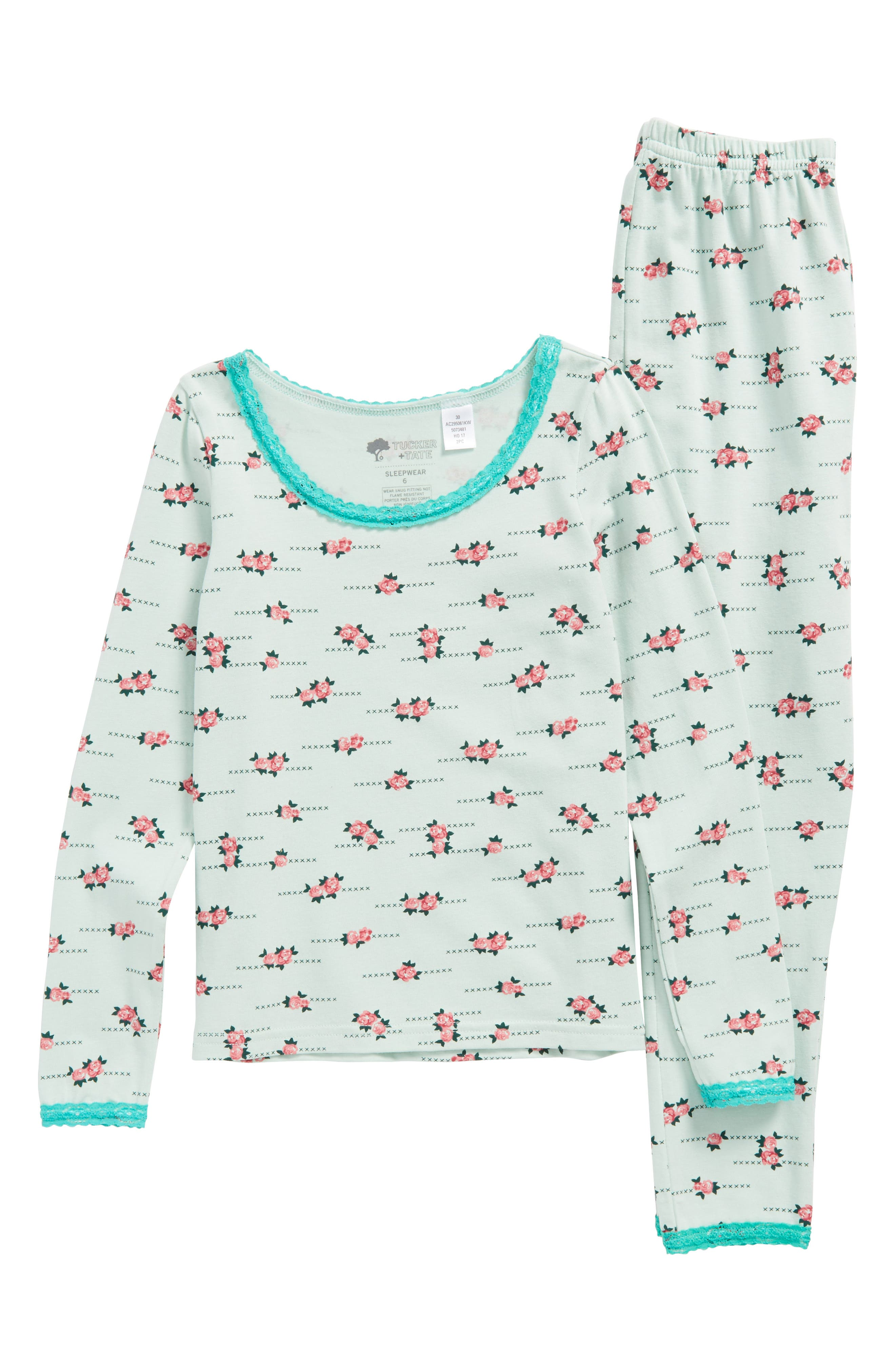 Main Image - Tucker + Tate Lace Trim Fitted Two-Piece Pajamas (Little Girls & Big Girls)