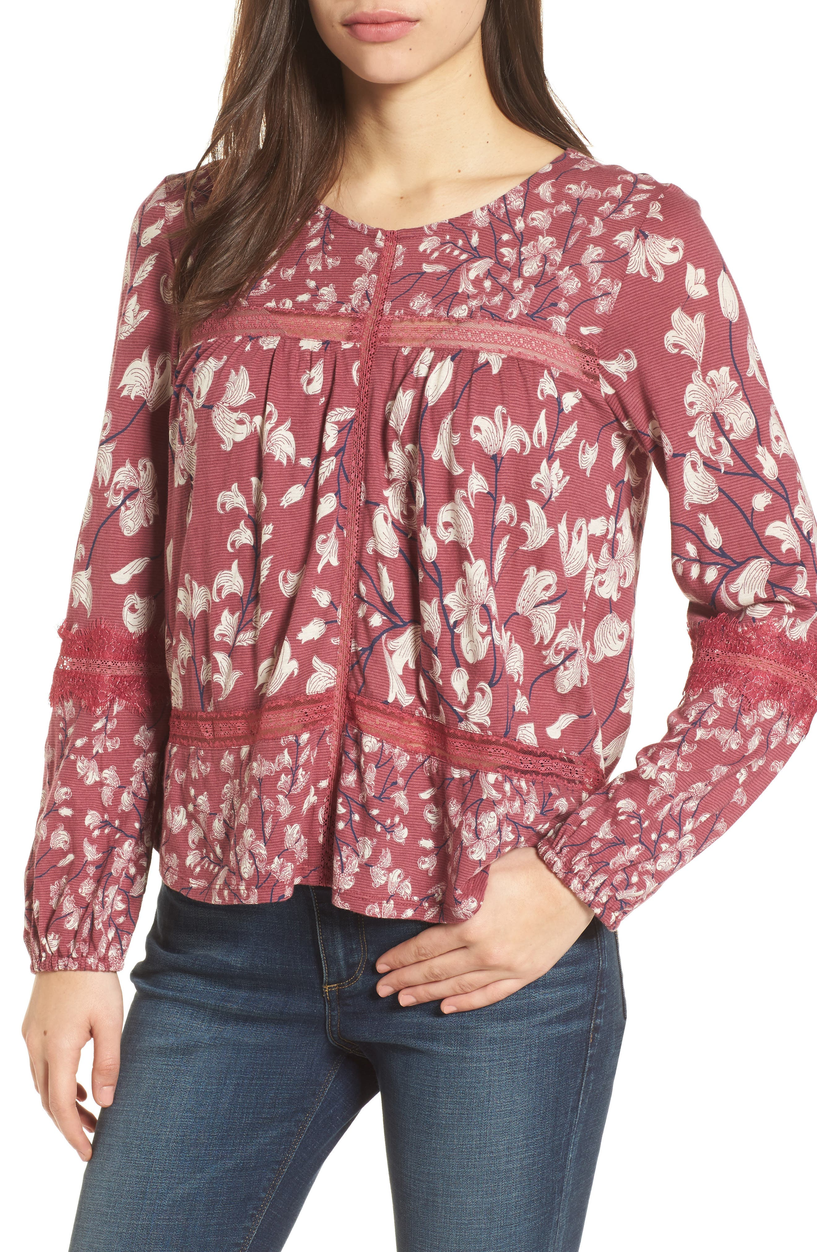 Lace Inset Print Knit Top,                         Main,                         color, Blush Multi