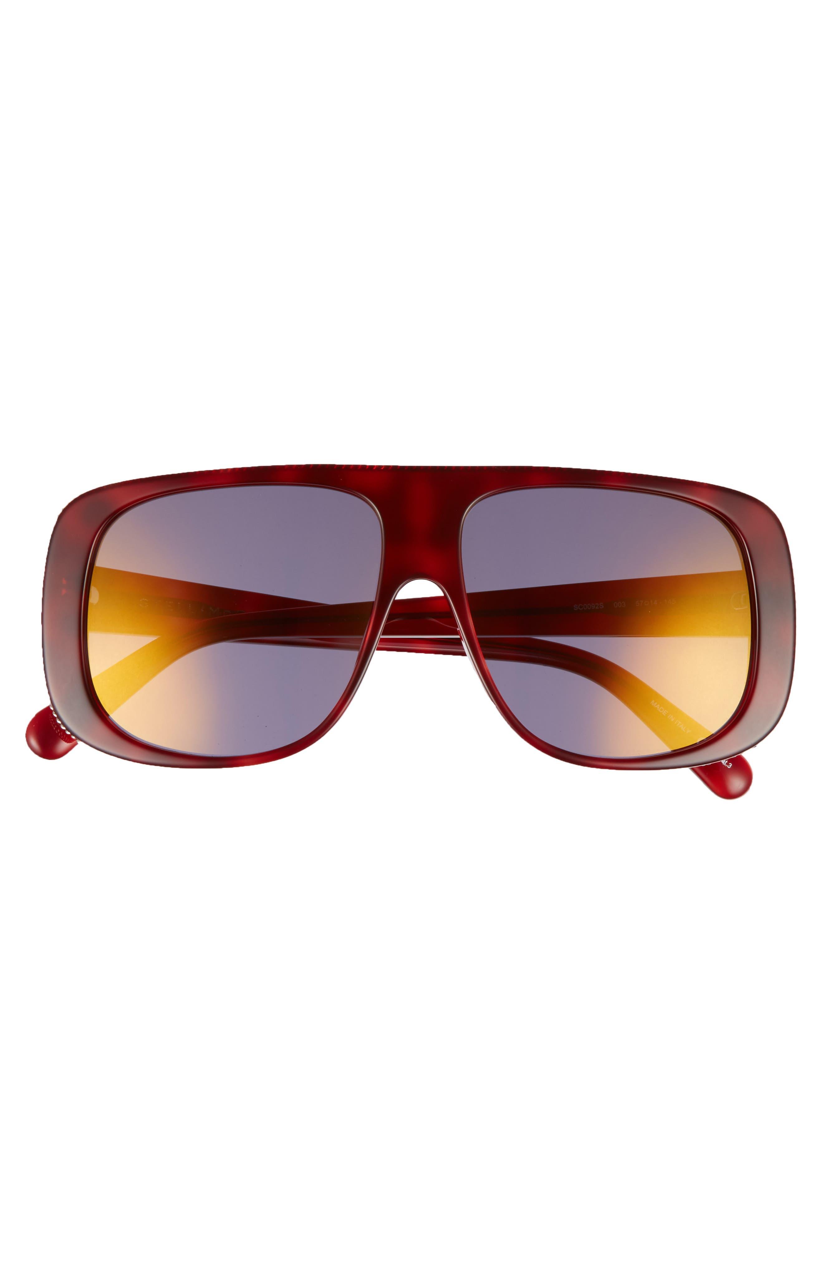 57mm Flat Top Sunglasses,                             Alternate thumbnail 3, color,                             Avana