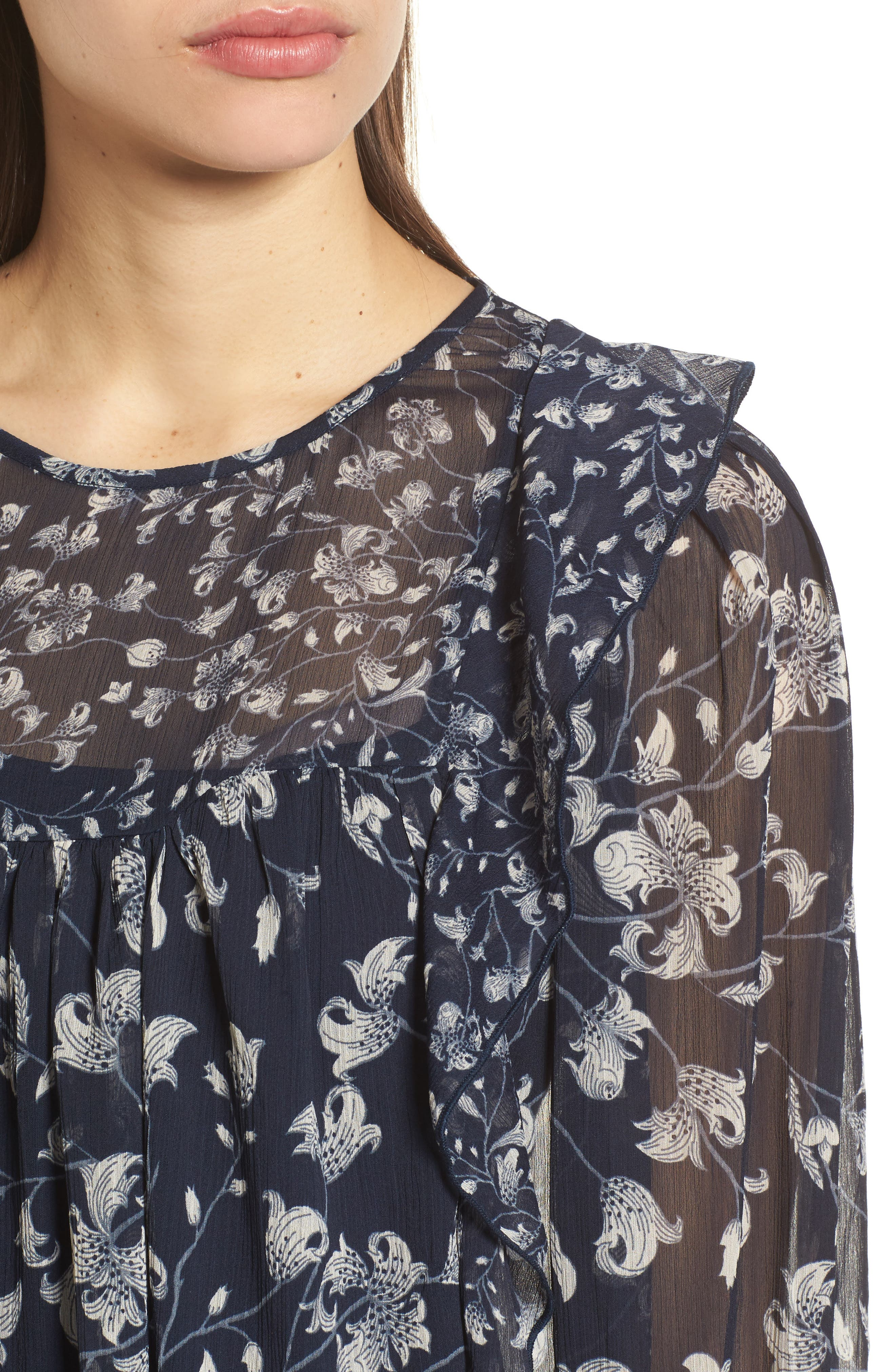 Ruffled Floral Top,                             Alternate thumbnail 4, color,                             Blue Multi