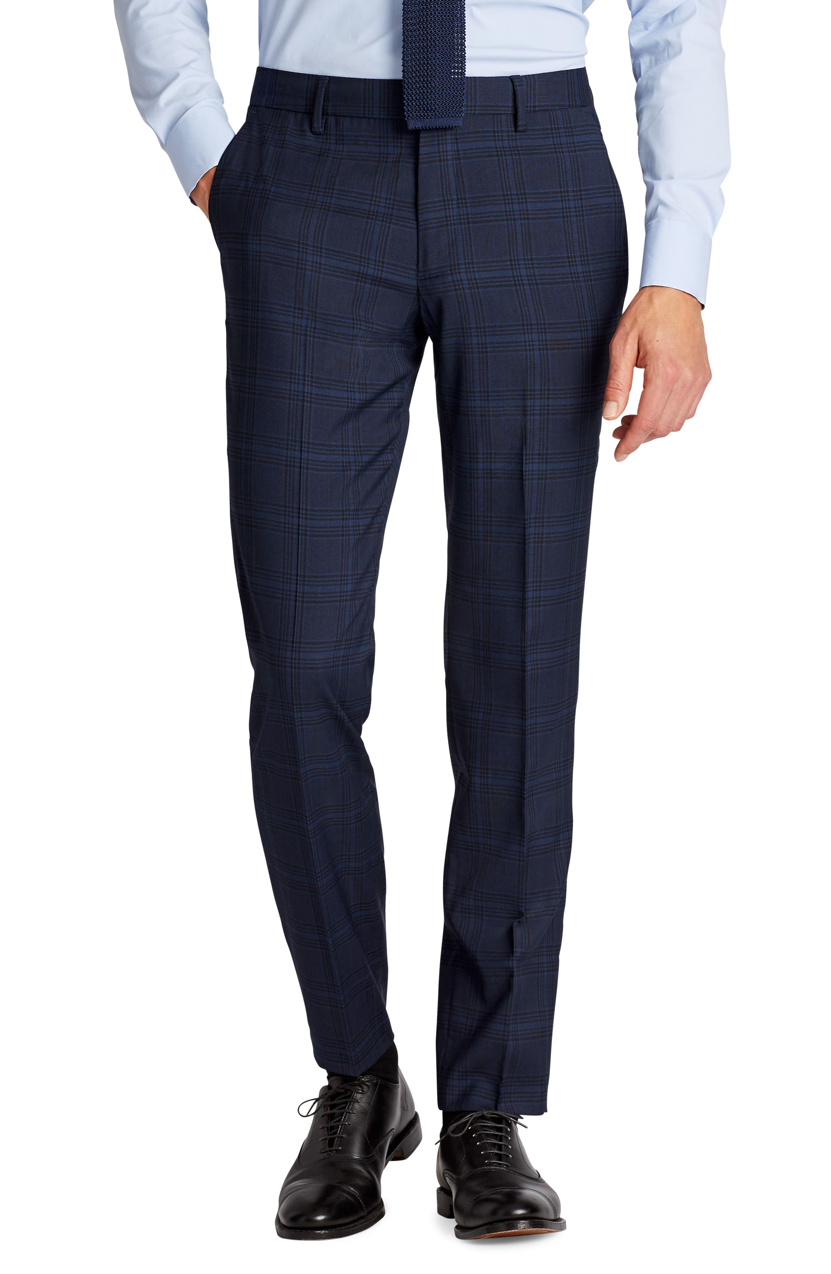 Jetsetter Flat Front Stretch Plaid Wool Blend Trousers,                         Main,                         color, Navy Plaid