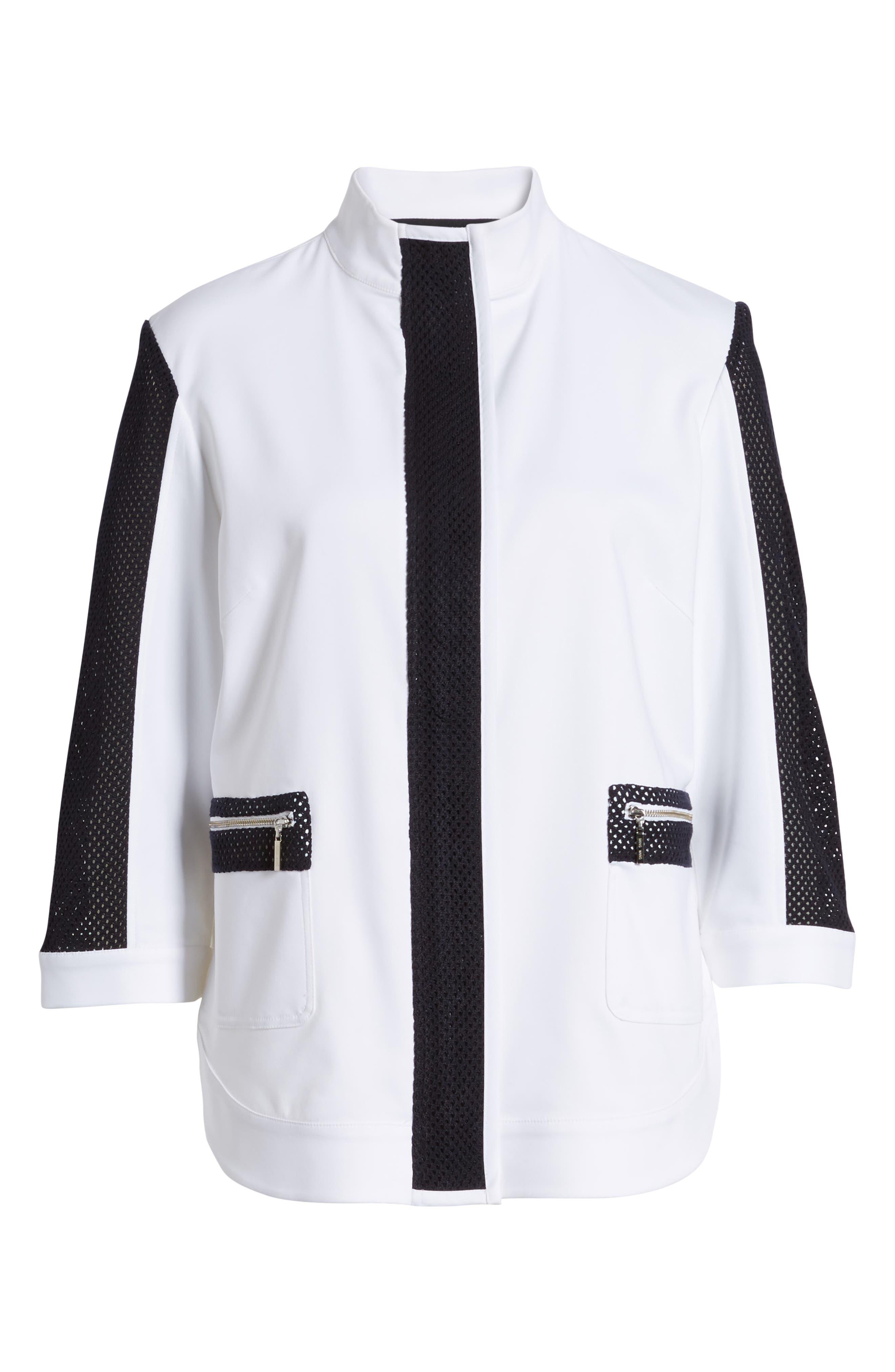 Mesh Trim Woven Jacket,                             Alternate thumbnail 6, color,                             White/ Navy