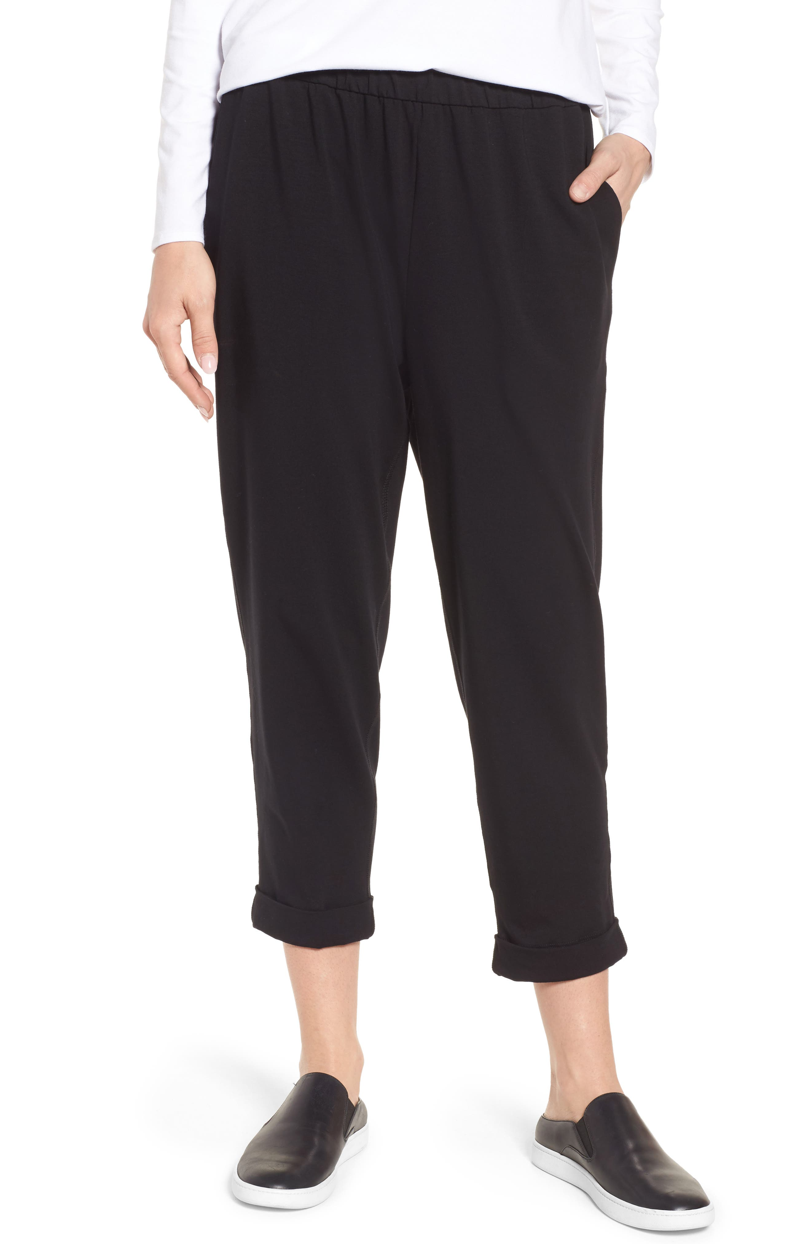 Stretch Organic Cotton Crop Pants,                         Main,                         color, Black