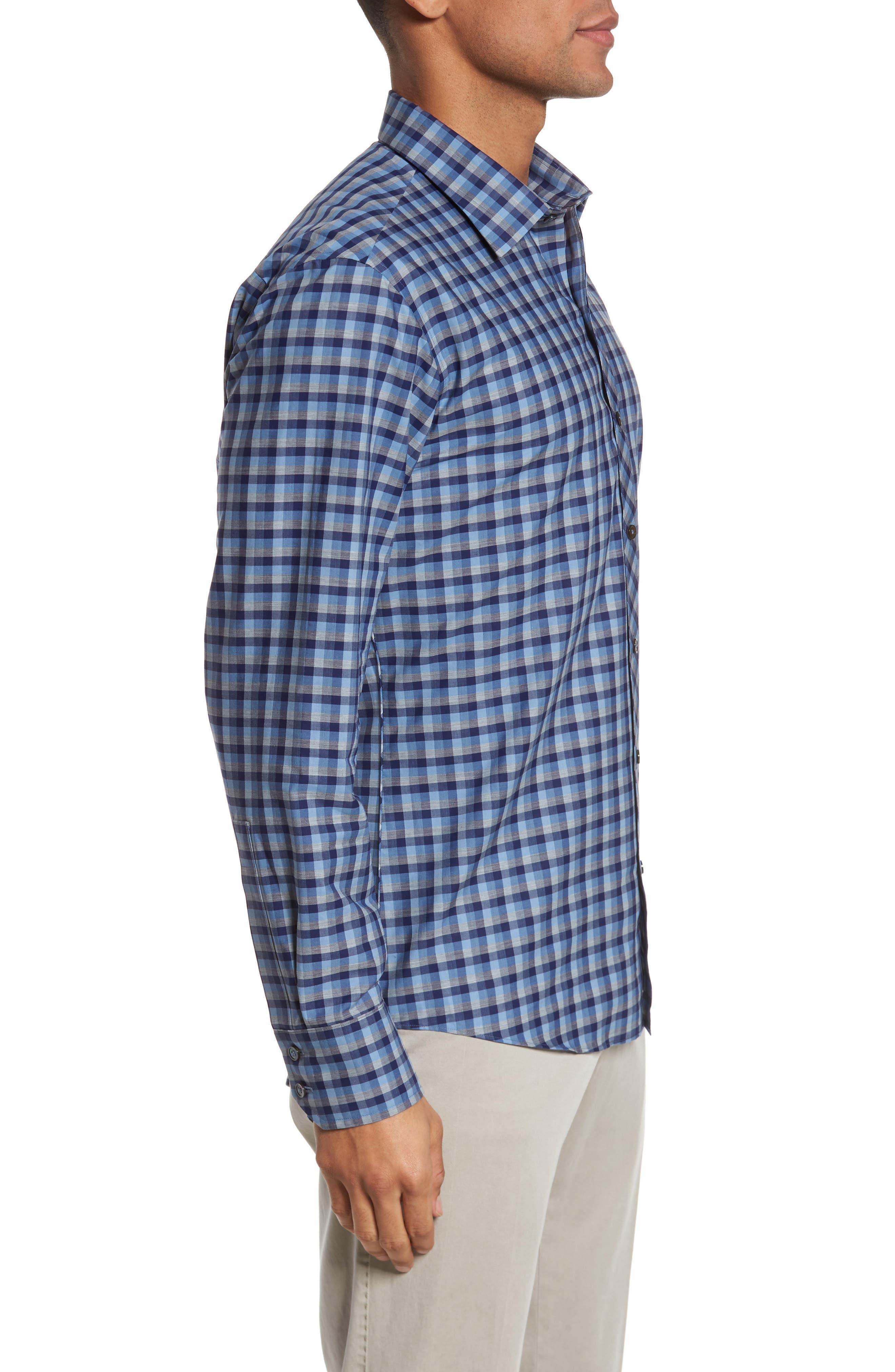 Dane Check Sport Shirt,                             Alternate thumbnail 3, color,                             Light Blue