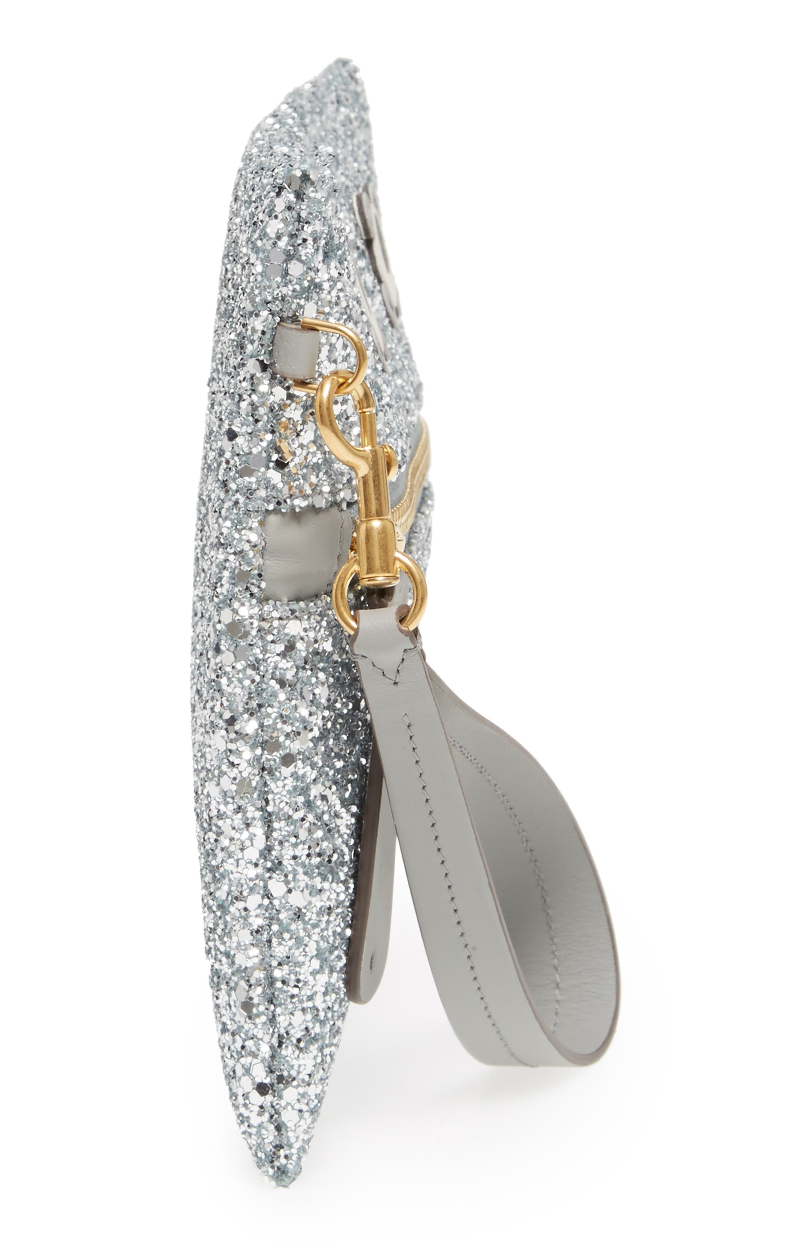 Eyes Circulus Glitter Pouch,                             Alternate thumbnail 5, color,                             Silver